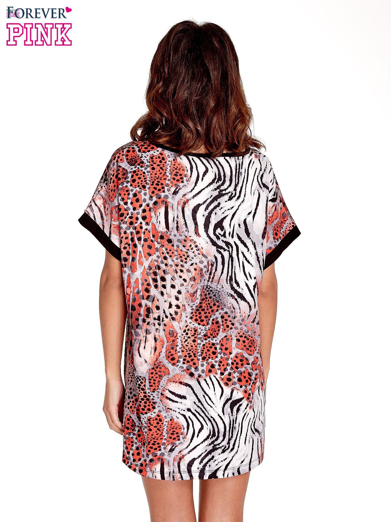 Różowa tunika z tygrysim nadrukiem                                  zdj.                                  4