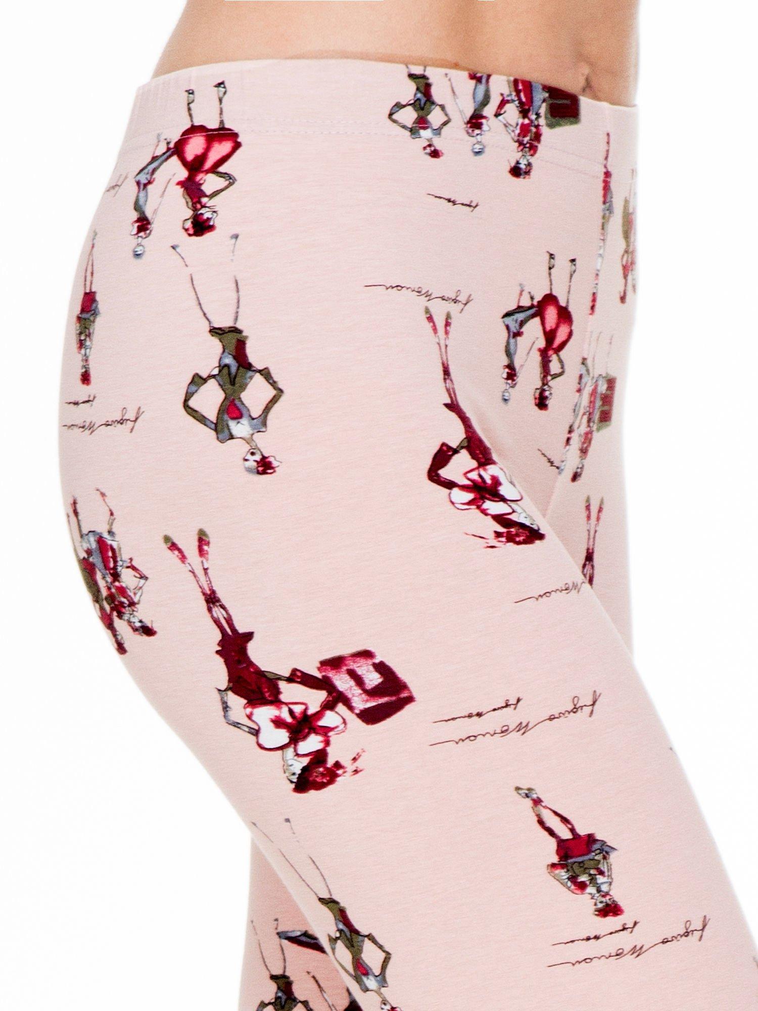 Różowe legginsy z nadrukiem kobiet w stylu retro                                  zdj.                                  5