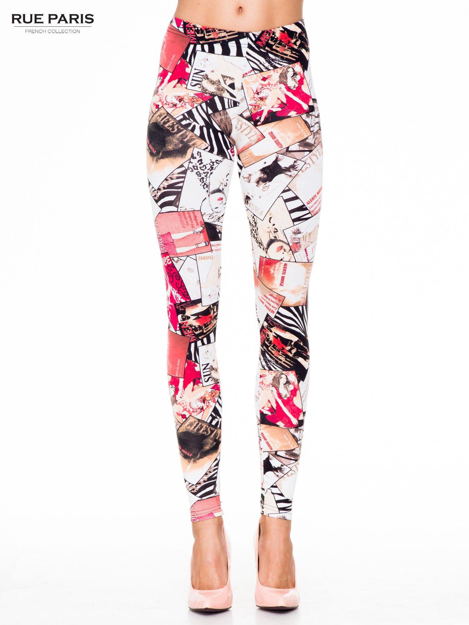 Różowe legginsy z nadrukiem magazines print                                  zdj.                                  1
