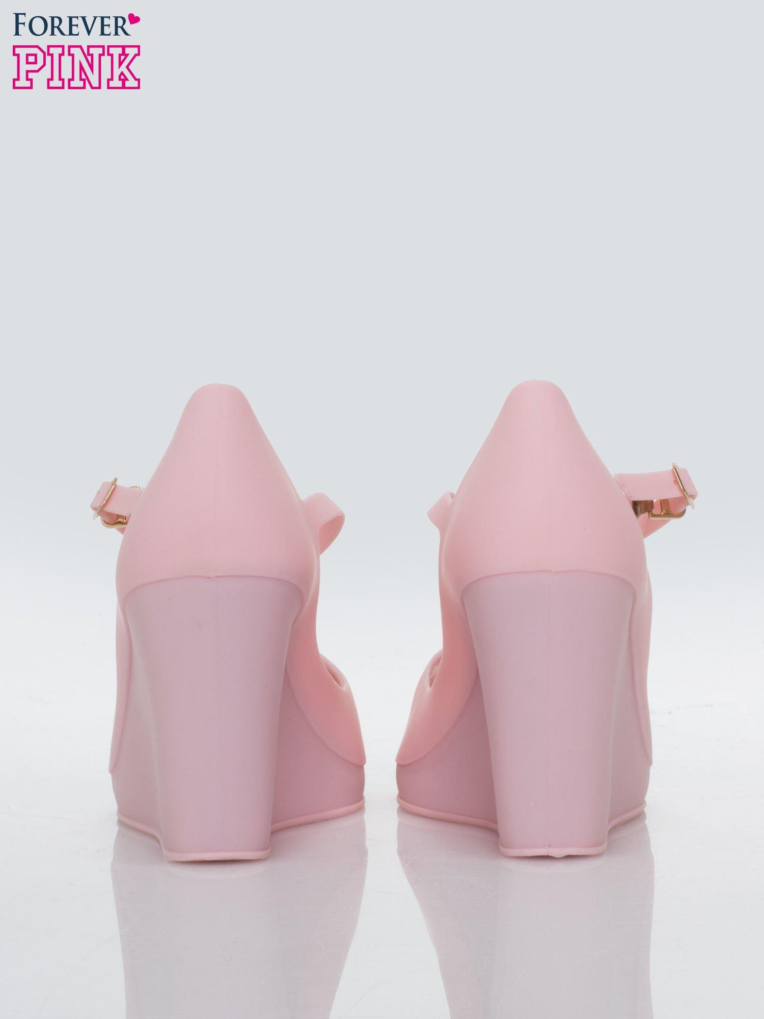 Różowe meliski peep toe na koturnie zapinane wokół kostki                                  zdj.                                  3