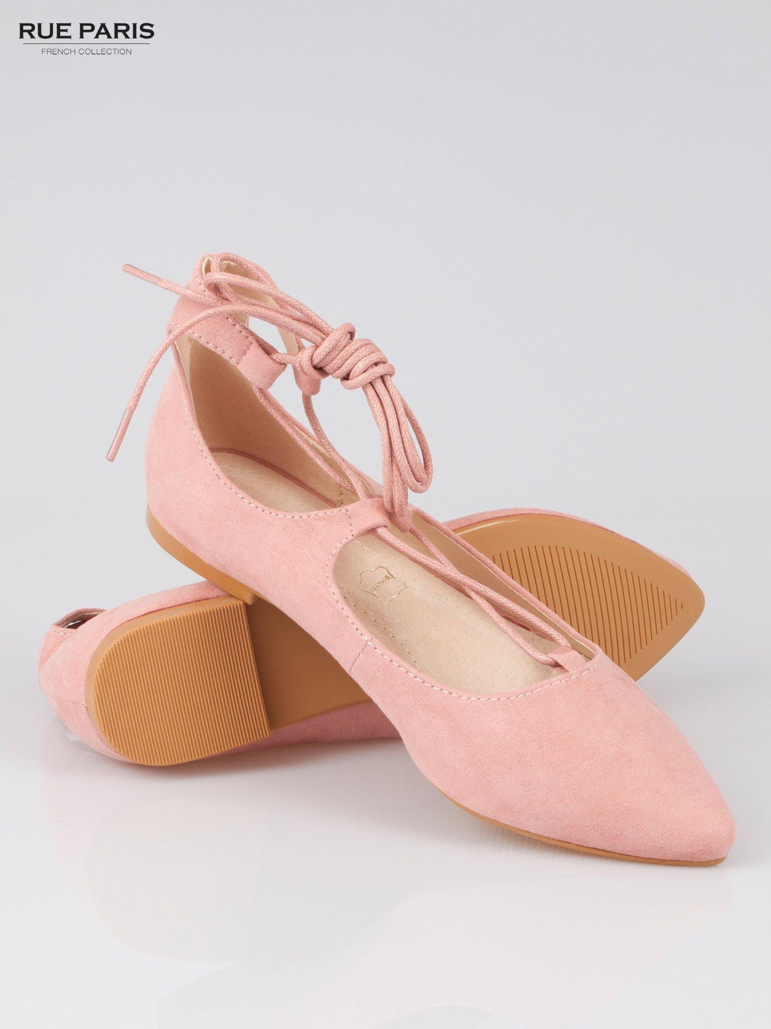 Różowe wiązane baleriny faux suede Kim lace up z zamszu                                  zdj.                                  4