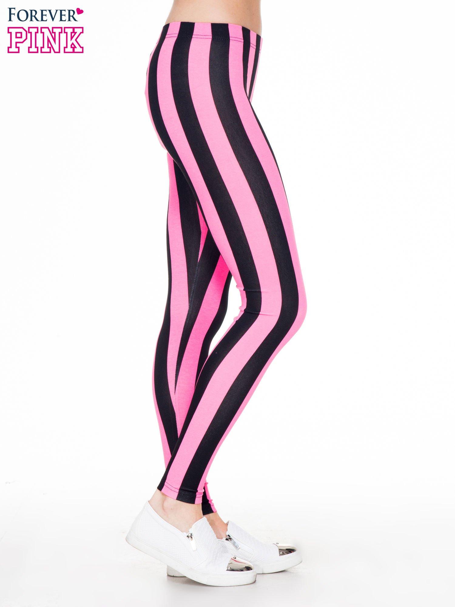 Różowo-czarne wyszczuplające legginsy w pionowe paski                                  zdj.                                  3