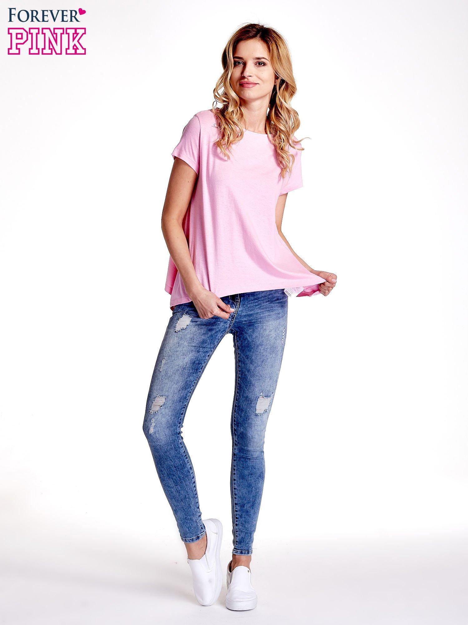 Różowy asymetryczny t-shirt                                  zdj.                                  6