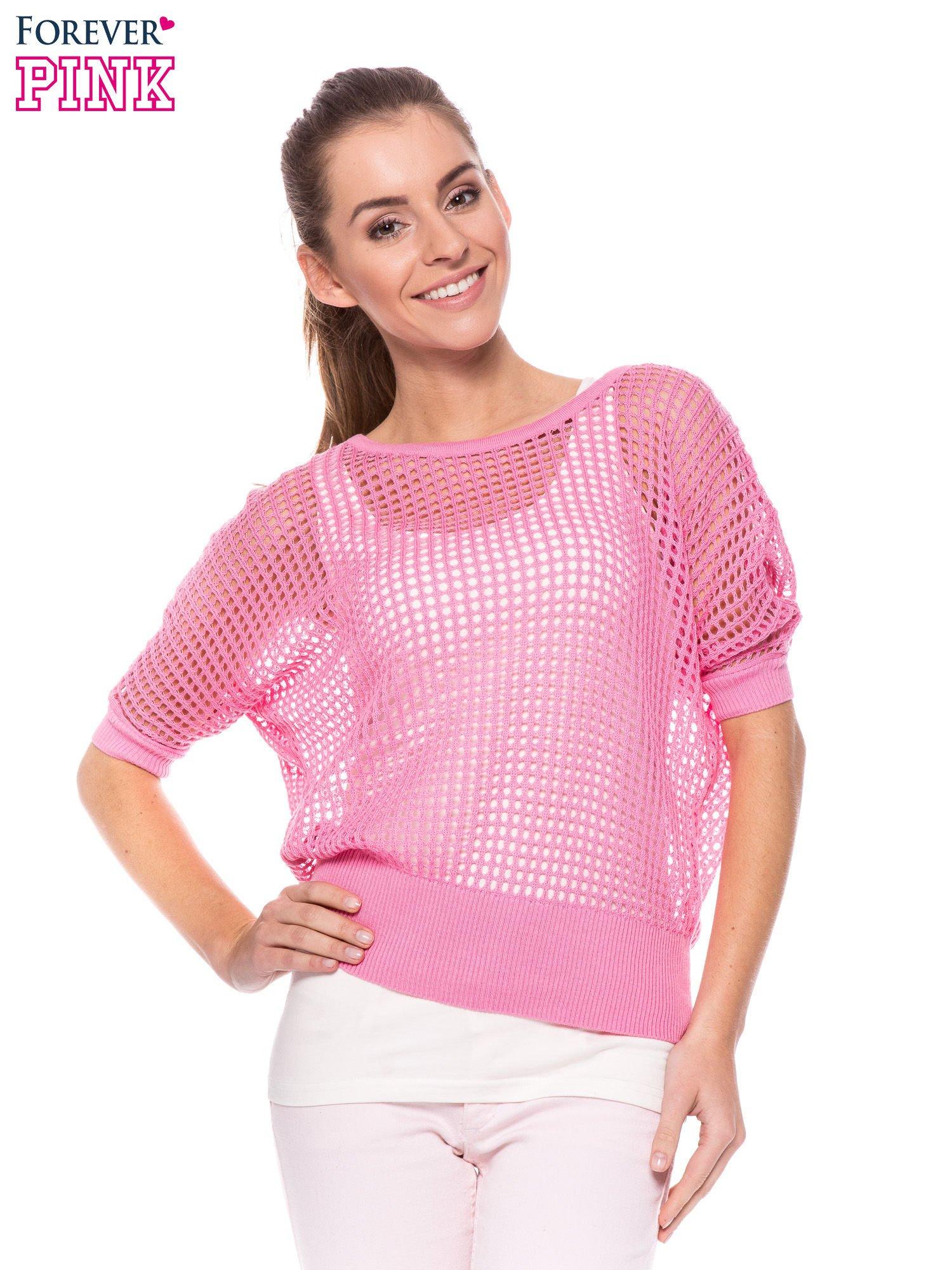 Różowy ażurowy sweter oversize                                  zdj.                                  1