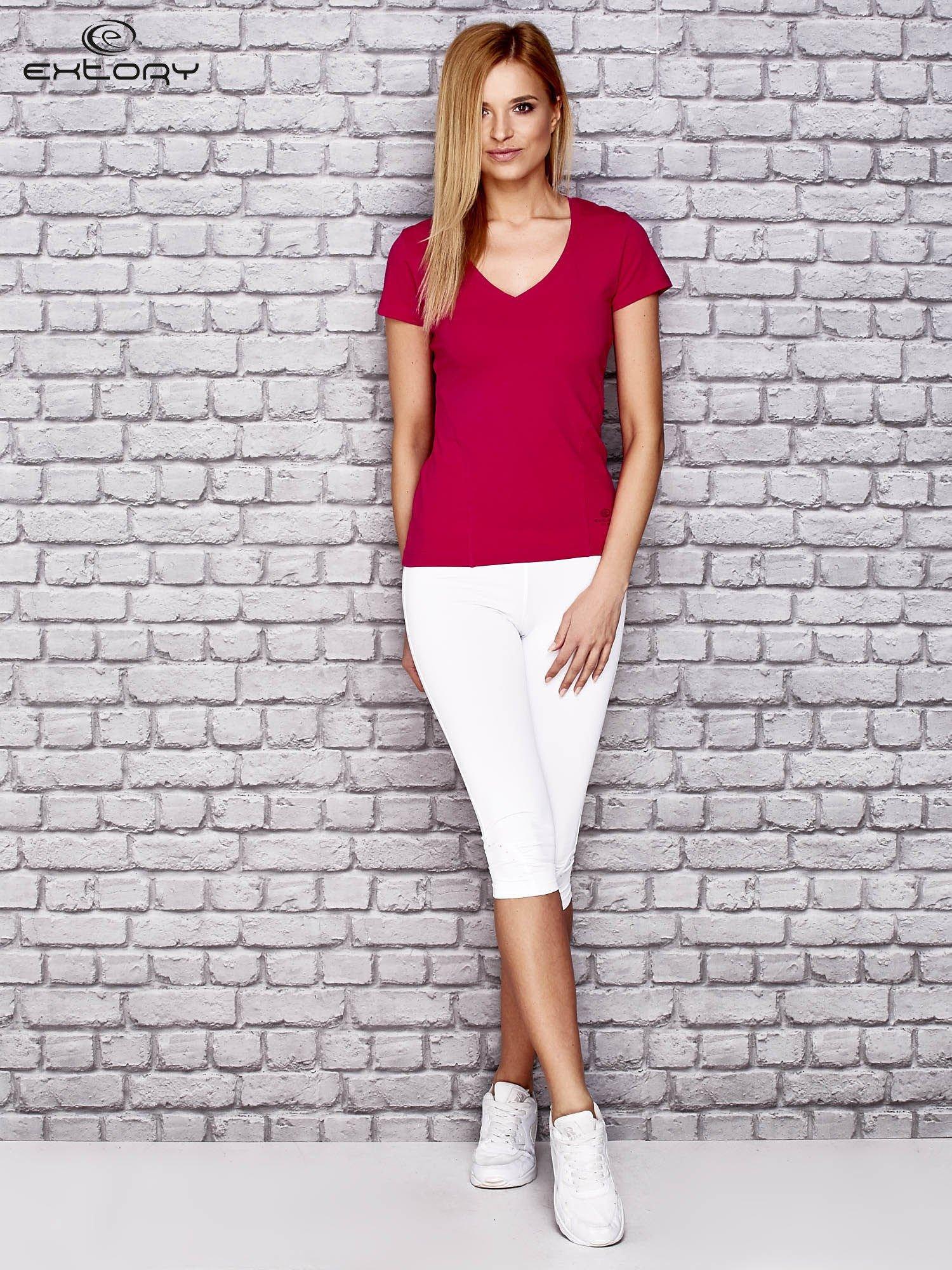 Różowy damski t-shirt sportowy z modelującymi przeszyciami                                  zdj.                                  2