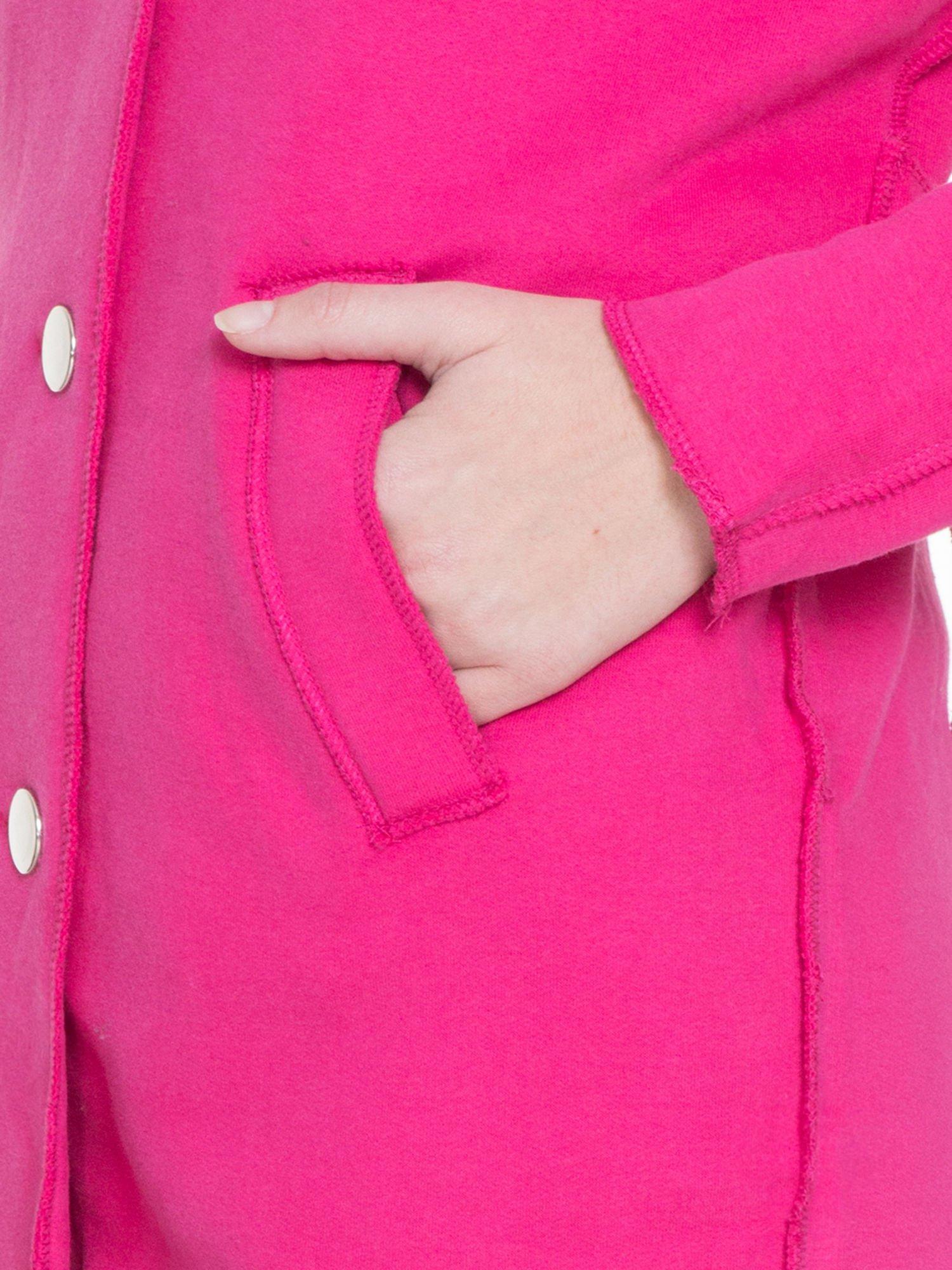 Różowy dresowy płaszcz o kroju oversize                                  zdj.                                  6