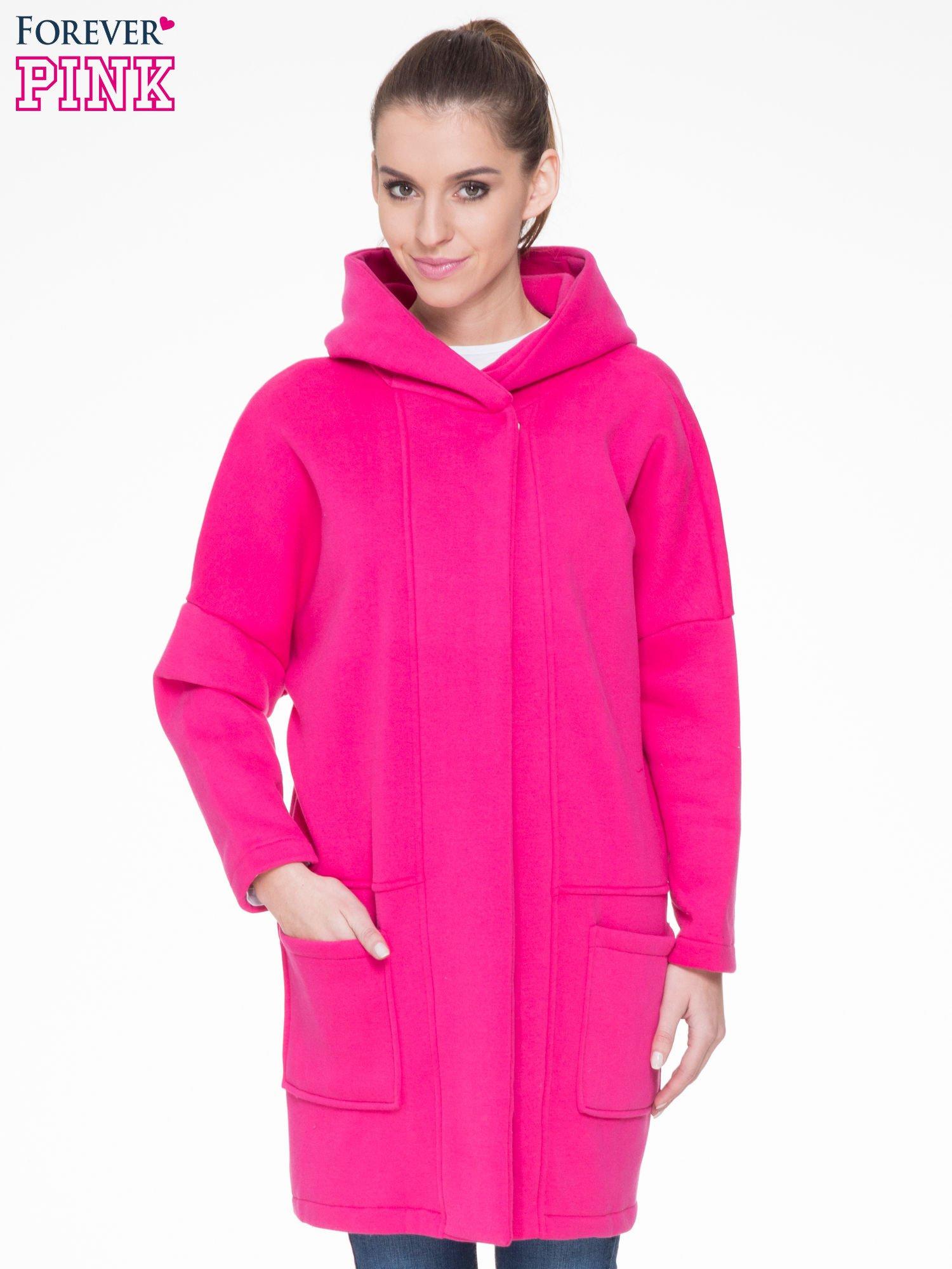 Różowy dresowy płaszcz z kapturem i kieszeniami                                  zdj.                                  1