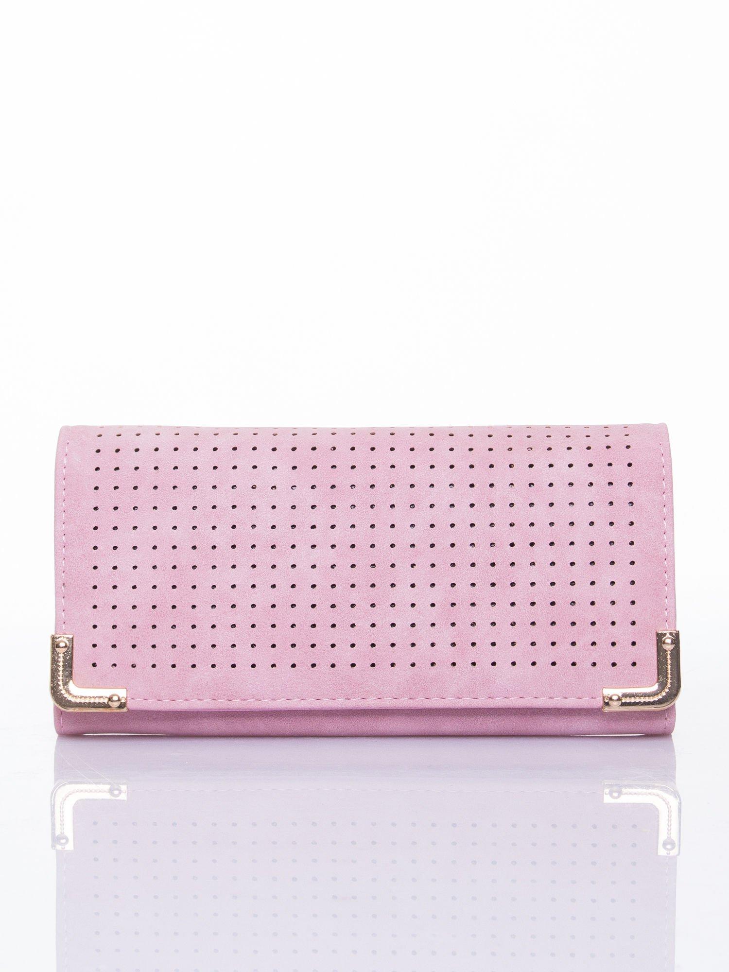 Różowy dziurkowany portfel ze złotym wykończeniem                                  zdj.                                  1