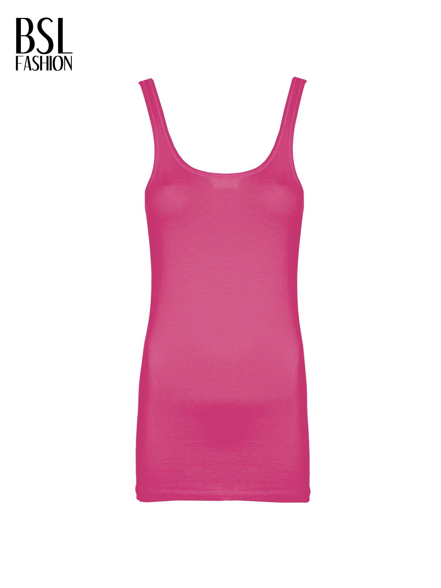 Różowy gładki top na szerokich ramiączkach                                  zdj.                                  2