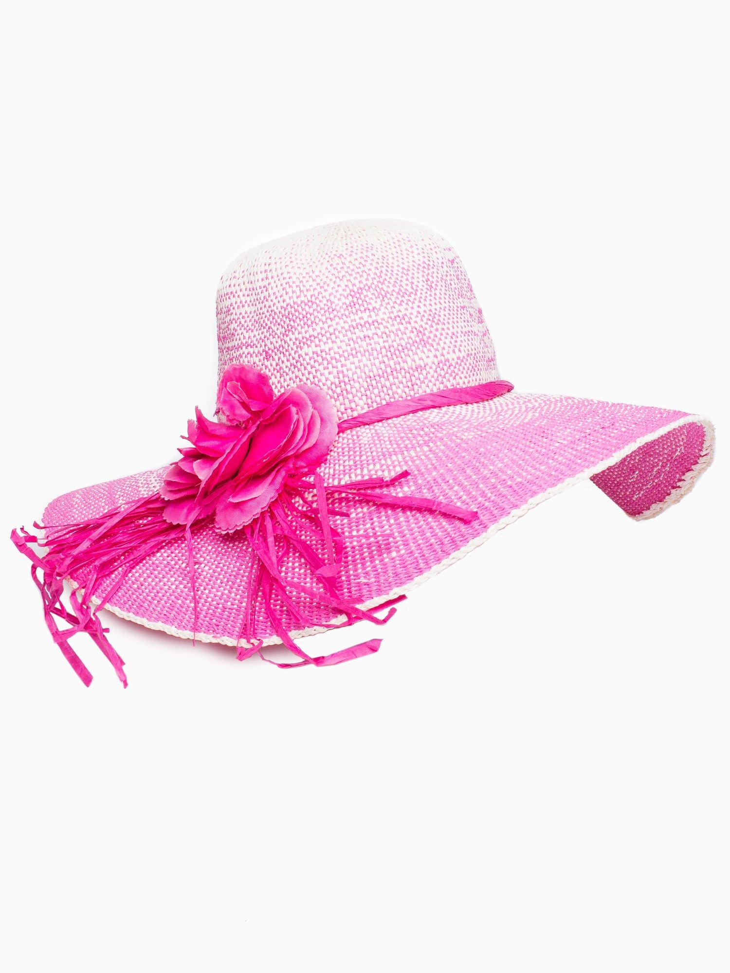 Różowy kapelusz słomiany z dużym rondem i kwiatem                                  zdj.                                  4