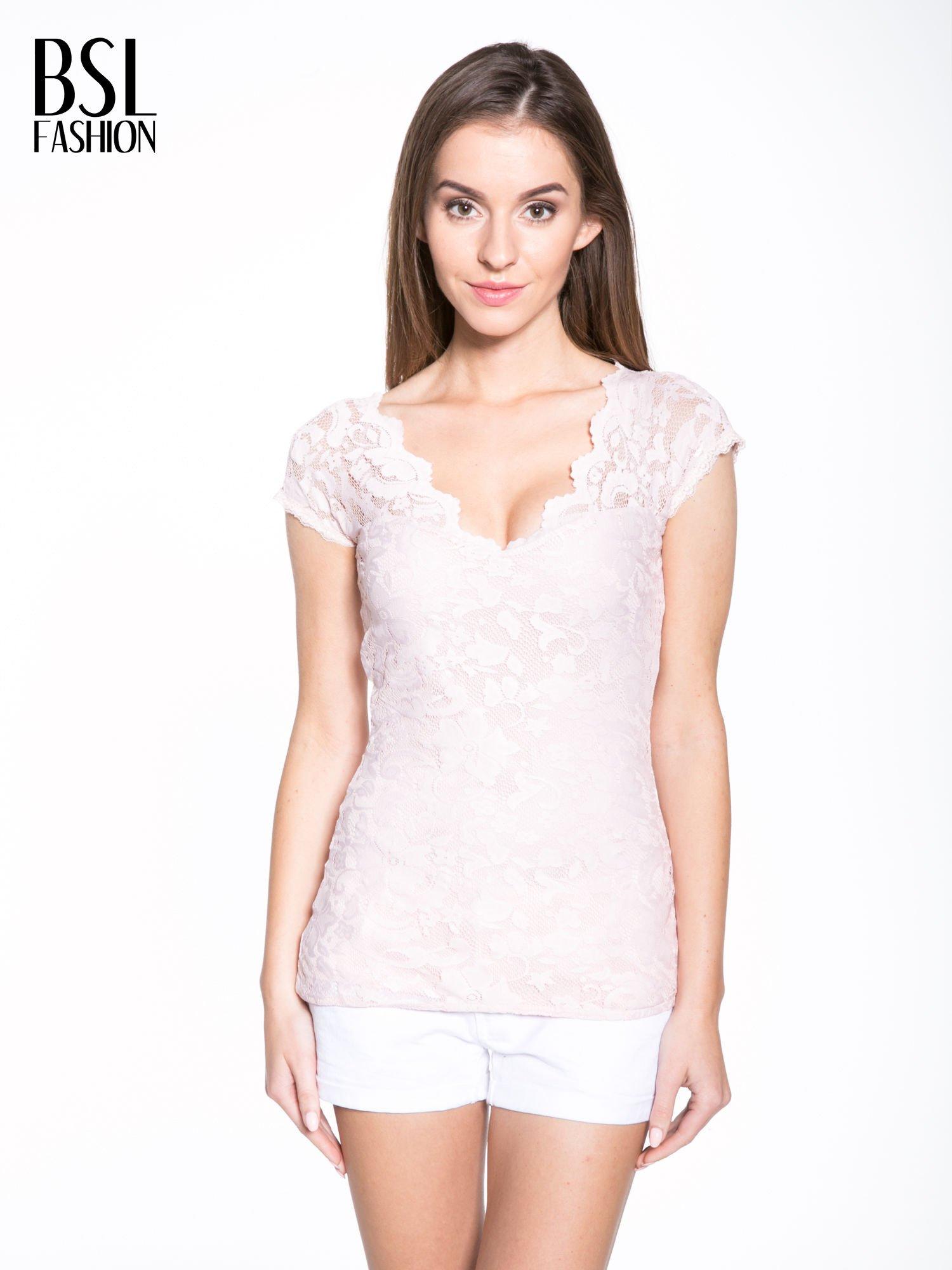 Różowy koronkowy t-shirt z głębokim dekoltem                                  zdj.                                  1