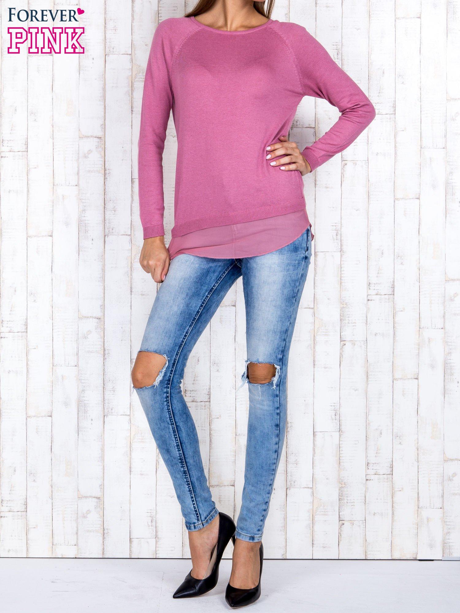 Różowy luźny sweter z siateczką i wycięciem z tyłu                                  zdj.                                  2