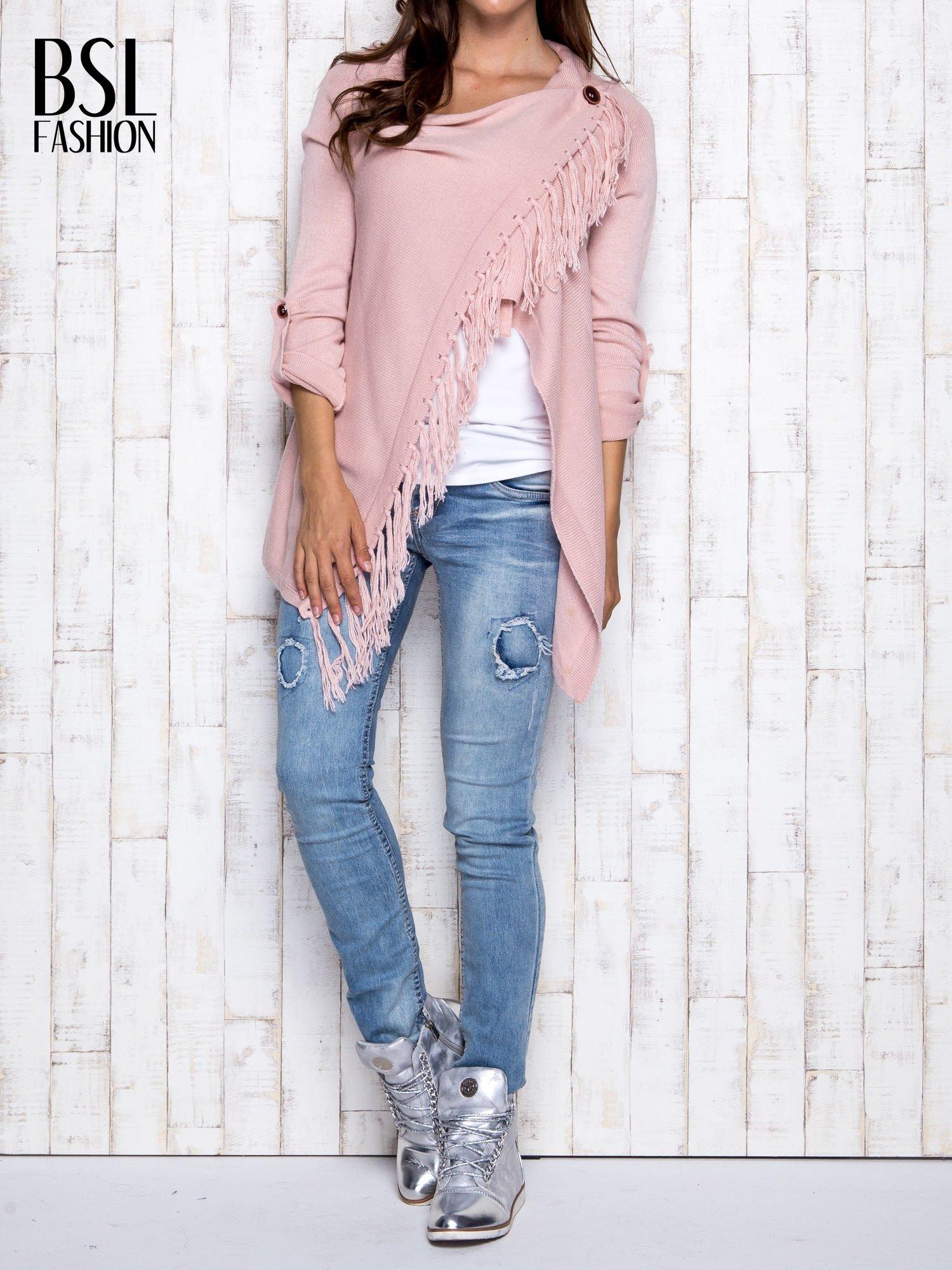 Różowy otwarty sweter z podwijanymi rękawami                                  zdj.                                  7