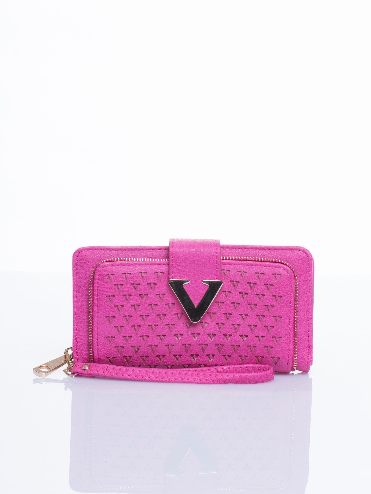 Różowy portfel ze złotym detalem V                                  zdj.                                  1