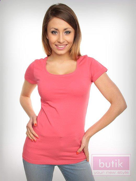 Różowy prosty t-shirt sportowy                                  zdj.                                  1