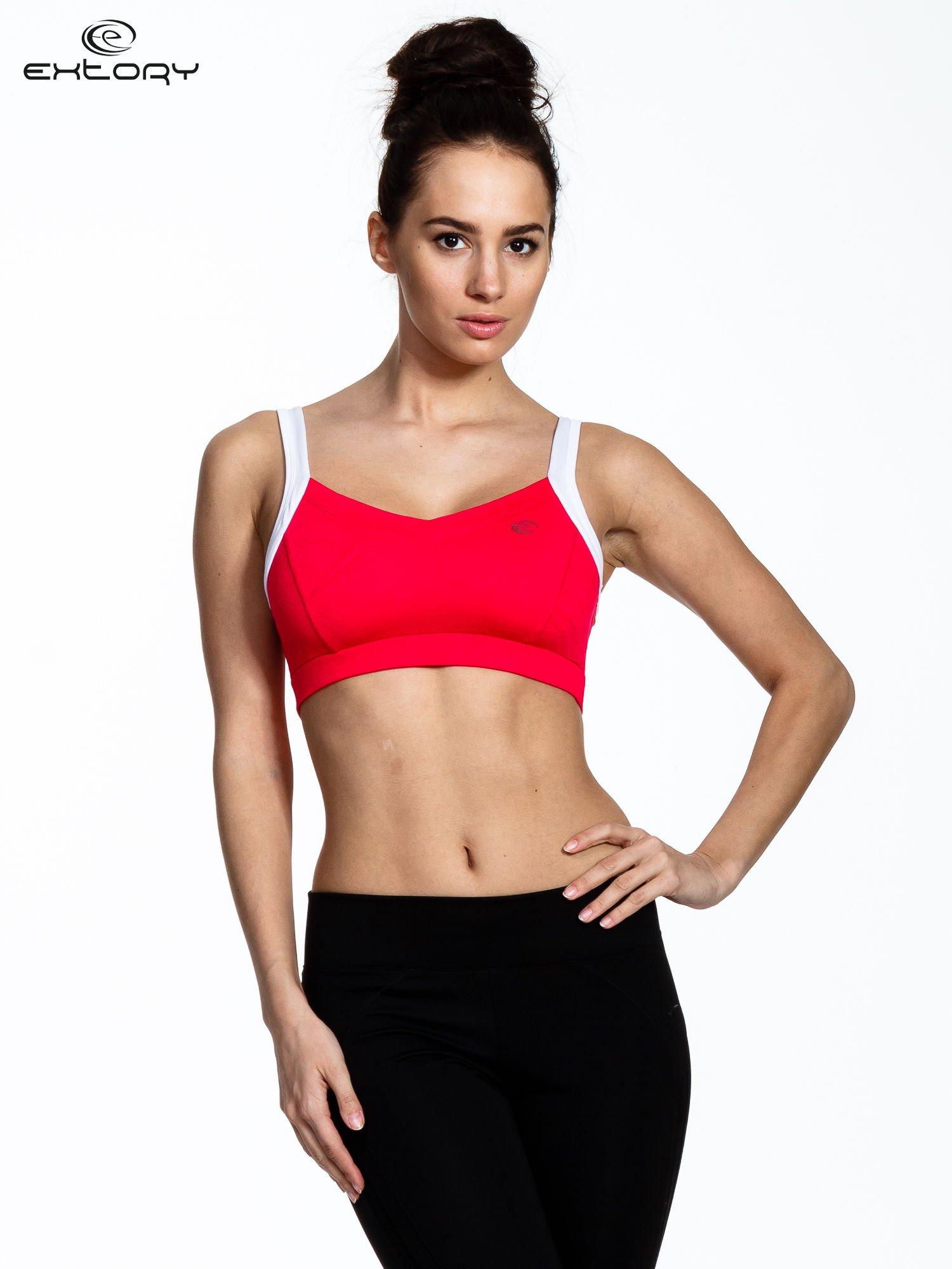 Różowy stanik sportowy z wycięciem na plecach                                  zdj.                                  1