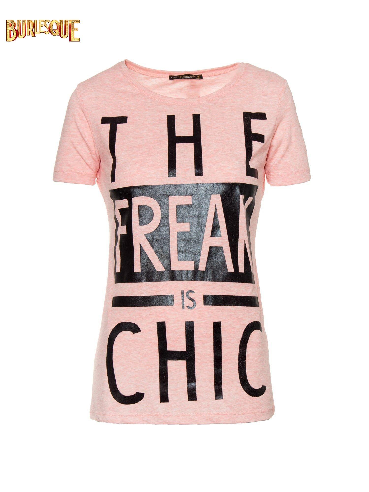 Różowy t-shirt z napisem THE FREAK IS CHIC                                  zdj.                                  1