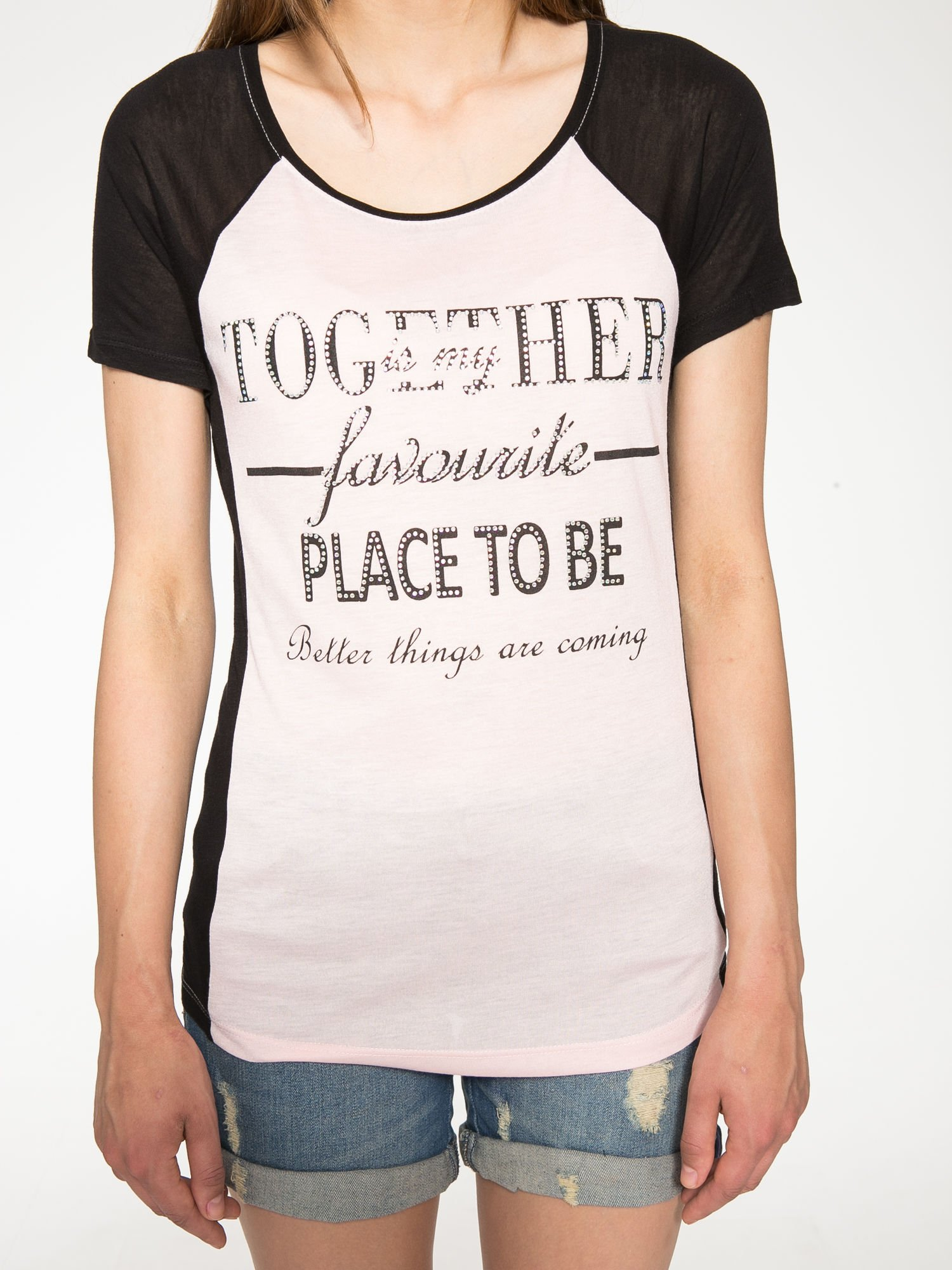 Różowy t-shirt z napisem TOGETHER IS MY FAVOURITE PLACE TO BE                                  zdj.                                  7