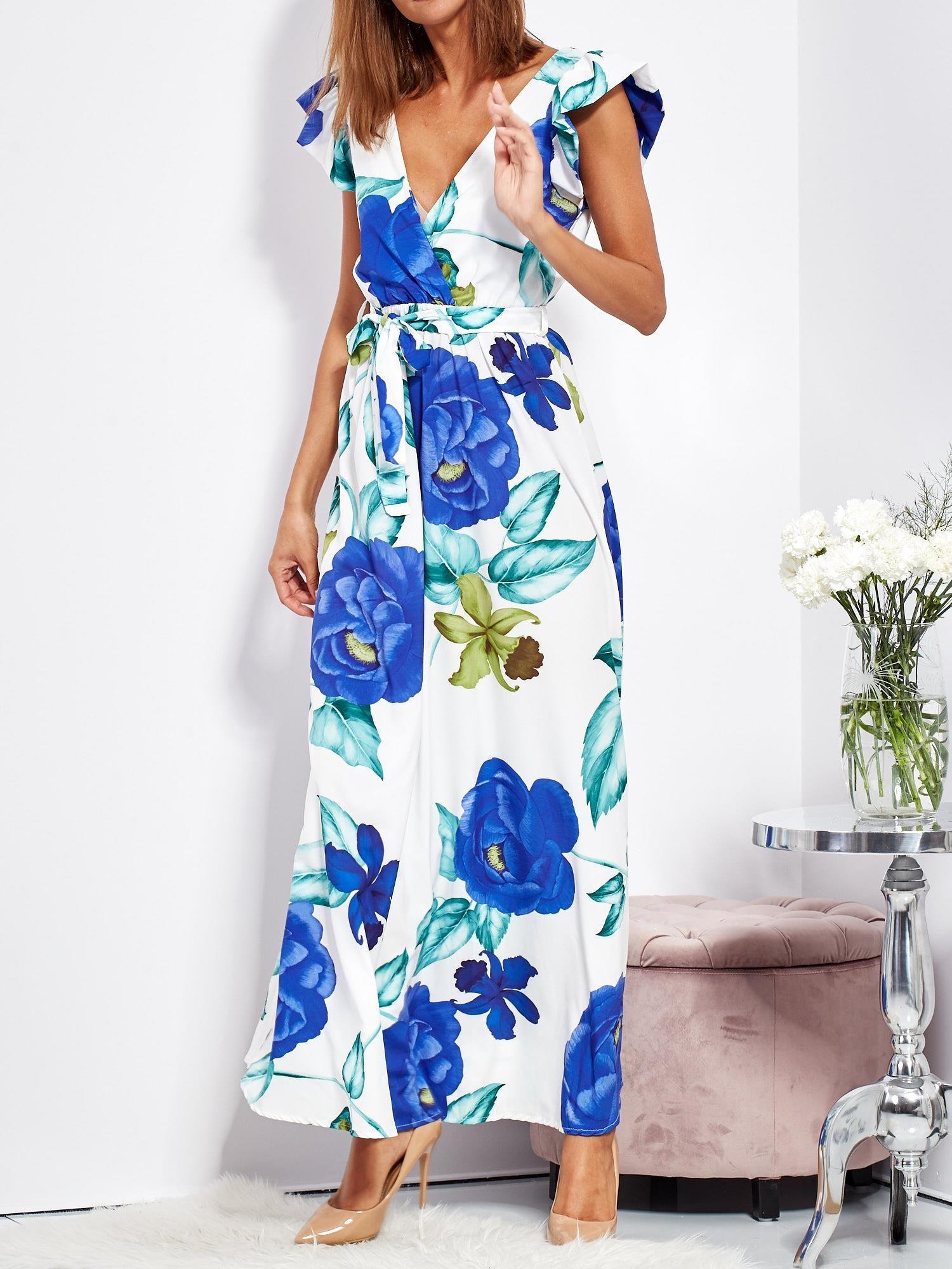 10c59c7191b53 Biało-niebieska długa sukienka w kwiaty - Sukienka na co dzień ...
