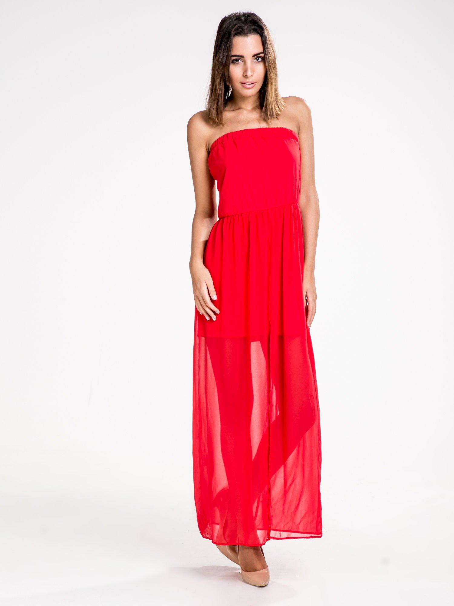 STRADIVARIUS Czerwona sukienka maxi z dekoltem gorsetowym                                  zdj.                                  1