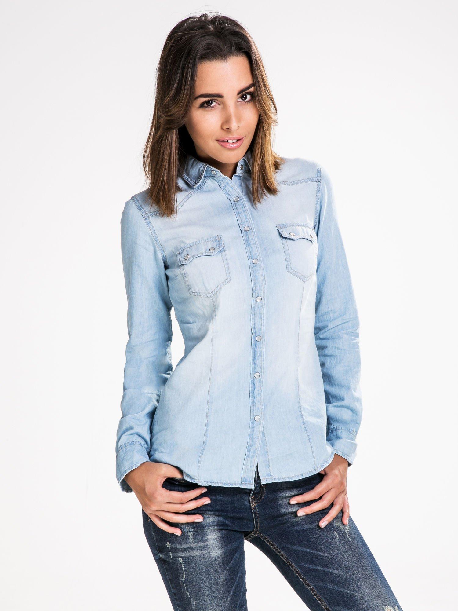 STRADIVARIUS Jeansowa koszula z kieszonkami                                  zdj.                                  1