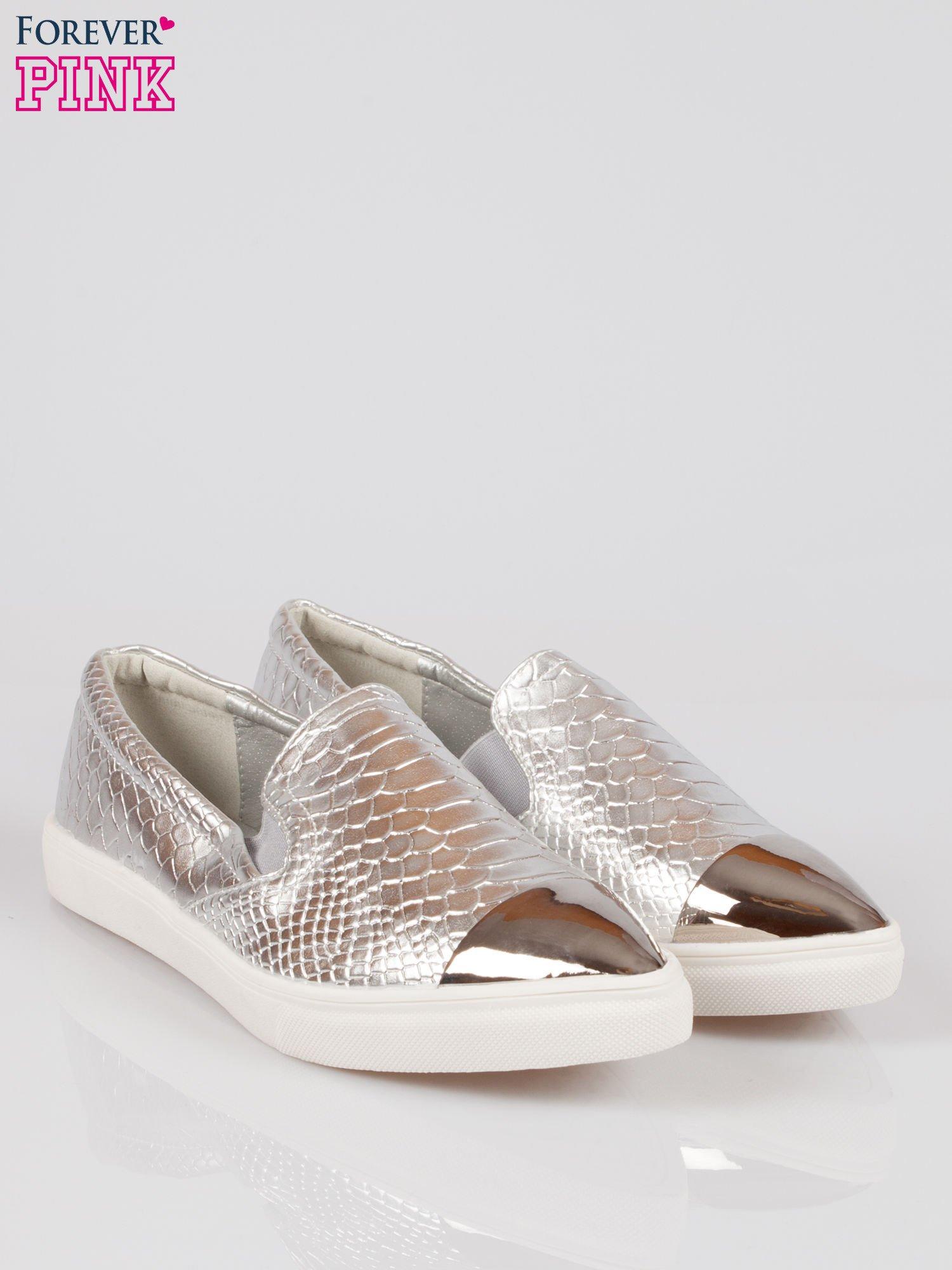 Srebrne wężowe buty slippers gold cap toe                                  zdj.                                  2