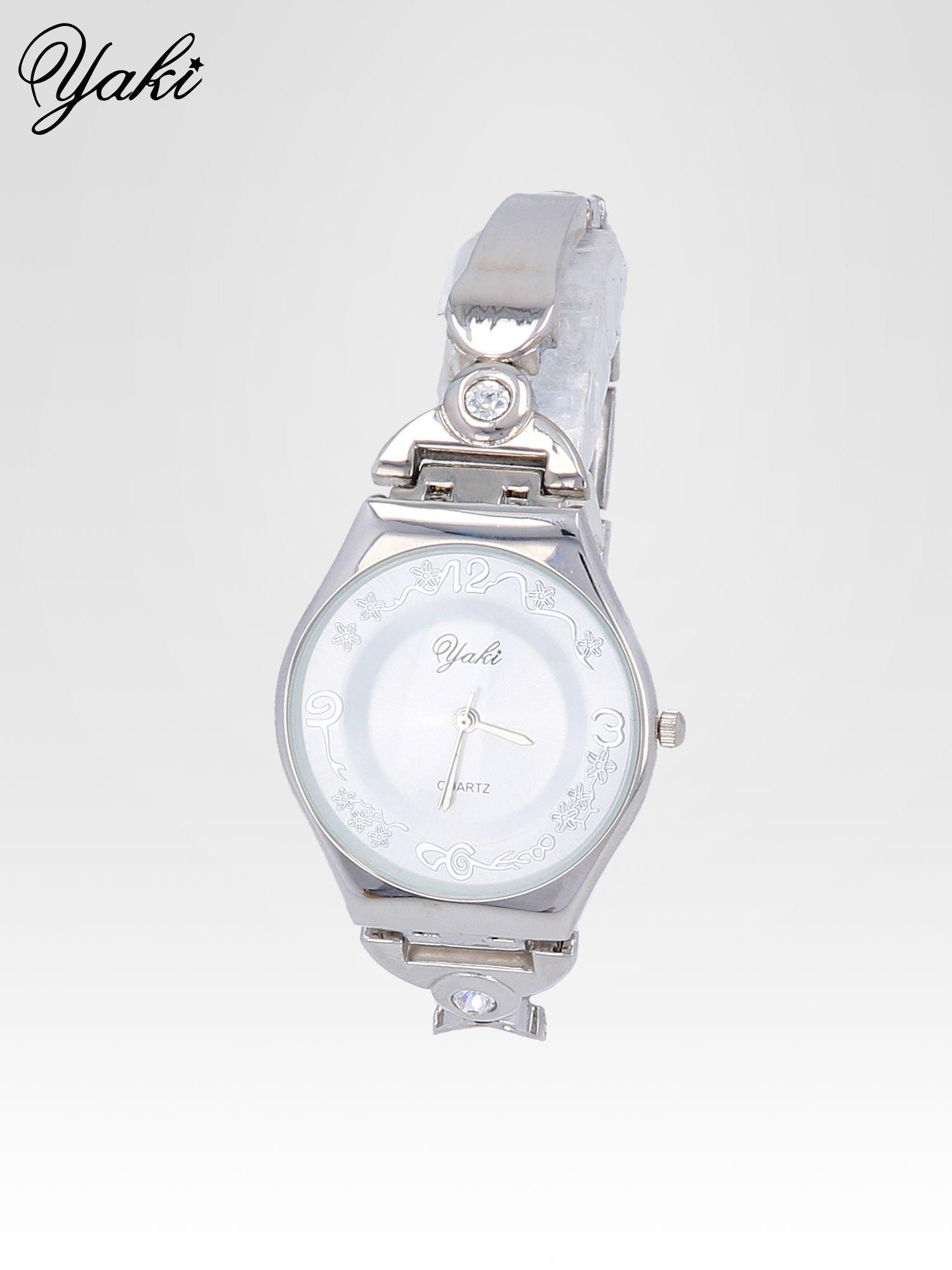 Srebrny biżuteryjny zegarek damski z białą tarczą                                  zdj.                                  2