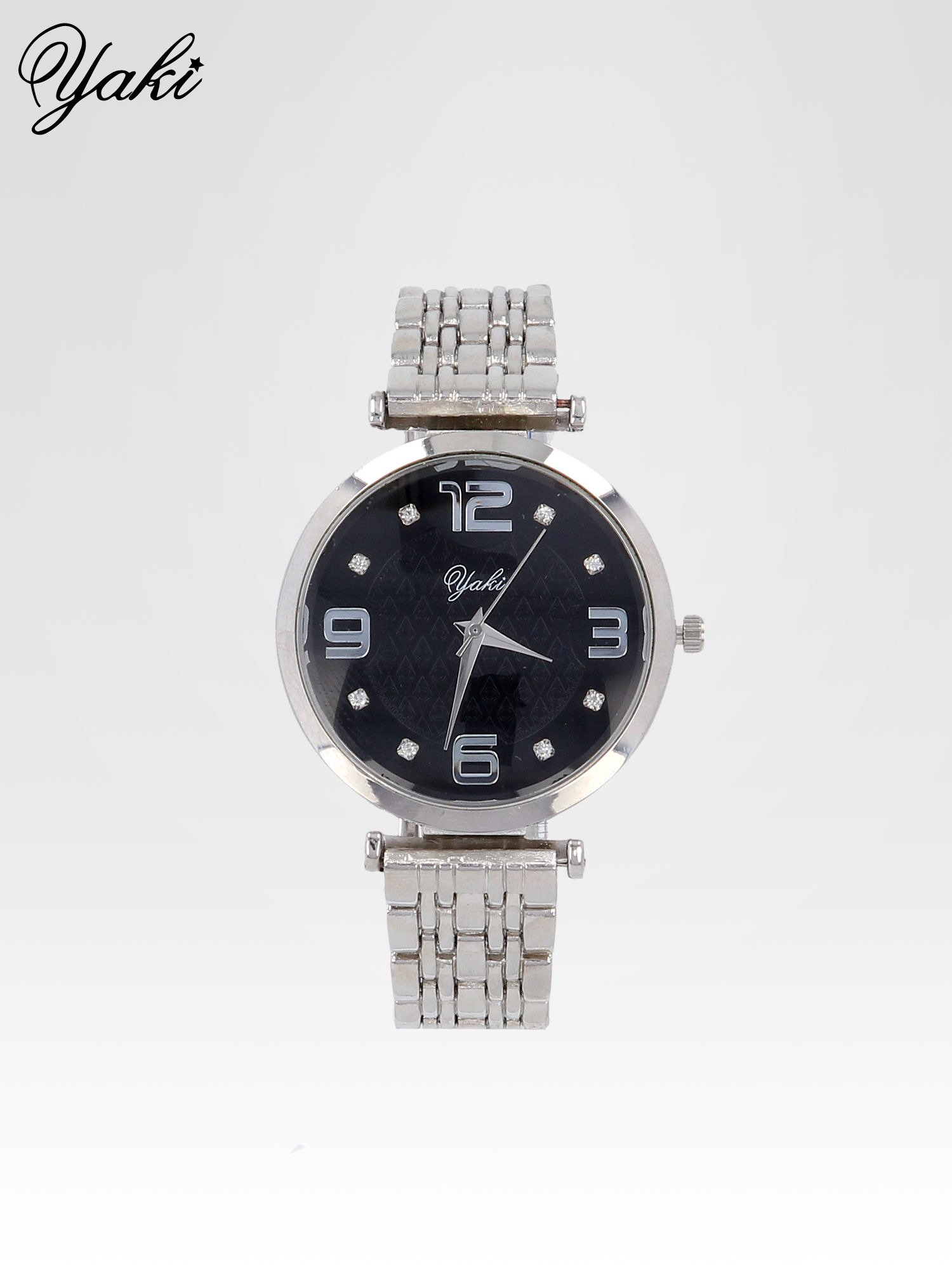 Srebrny zegarek damski na bransolecie z dużą czarną tarczą                                  zdj.                                  1