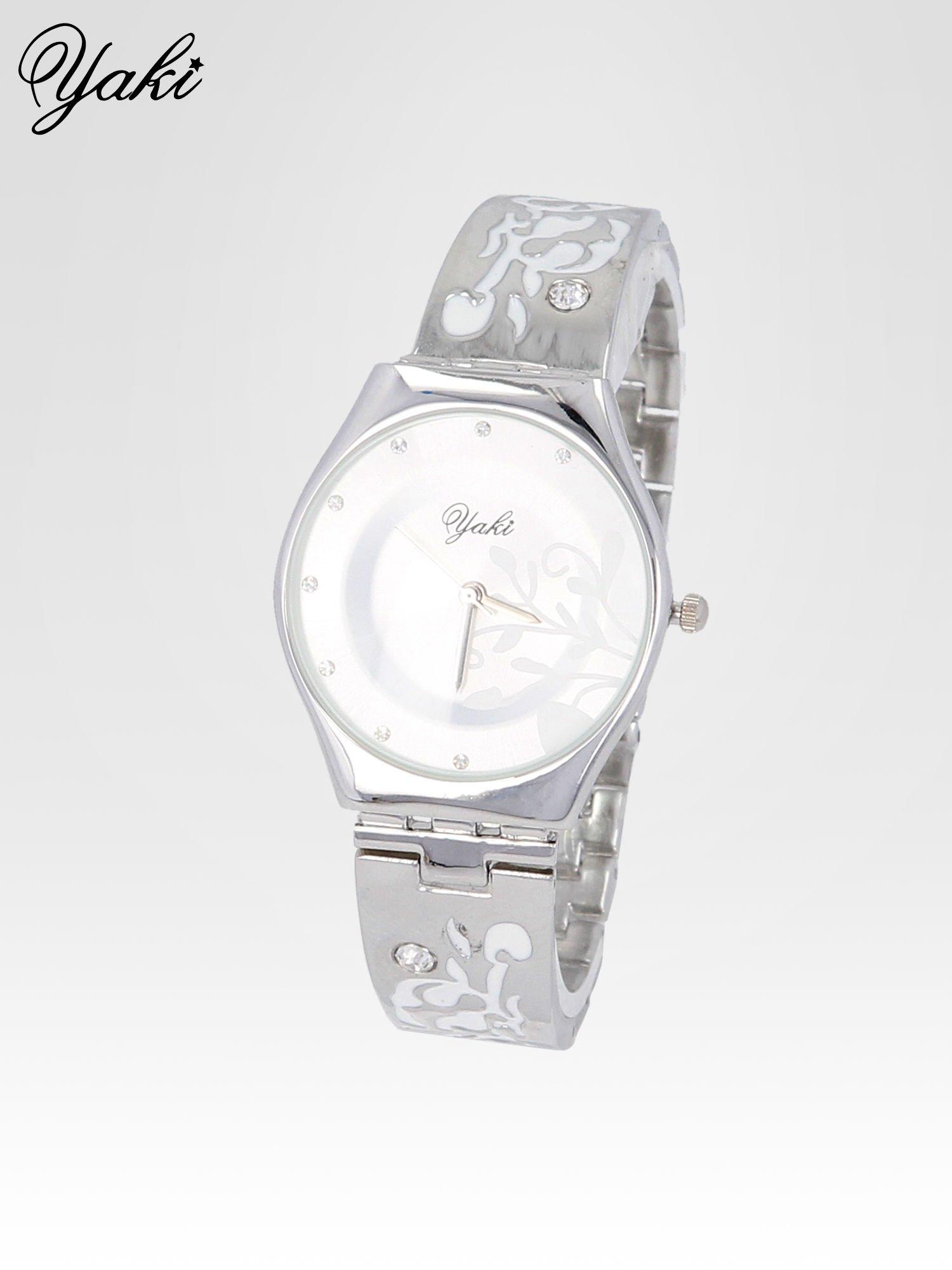 Srebrny zegarek damski na bransolecie z subtelnym zdobieniem                                  zdj.                                  2