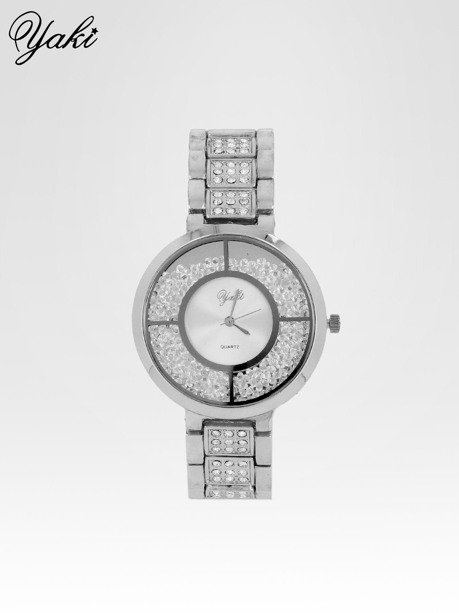 6ebc81bc1260e9 Srebrny zegarek damski na bransolecie ze srebrną cyrkoniową tarczą ...