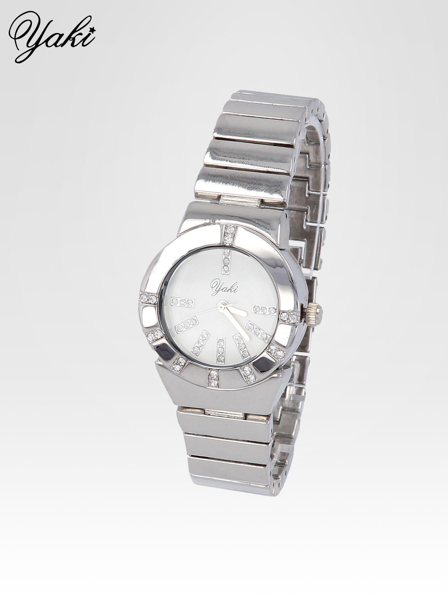 Srebrny zegarek na bransolecie z okrągłą tarczą z cyrkoniami                                  zdj.                                  2
