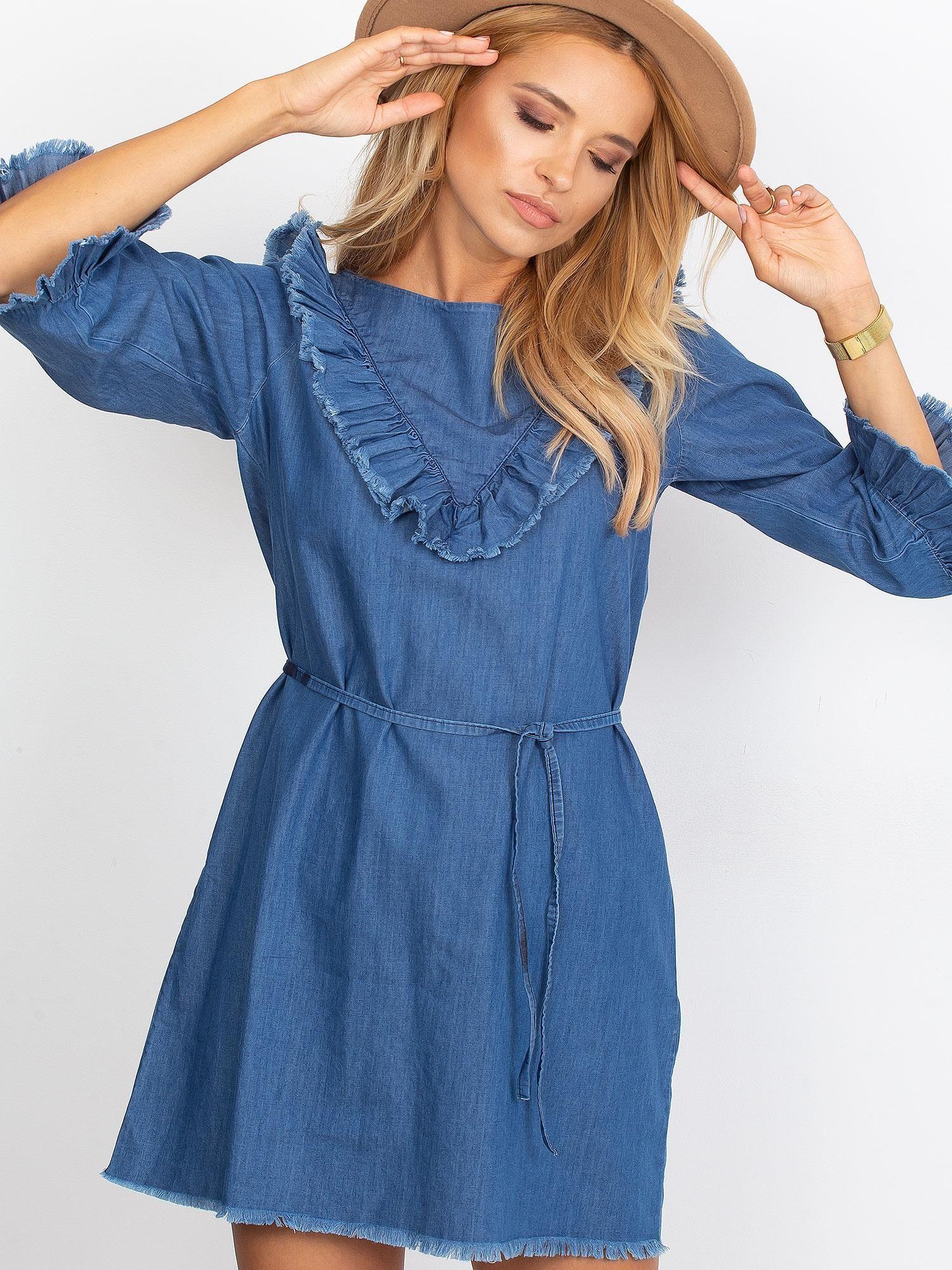 dff4cff463 Sukienka Niebieska Z Wystrzępionymi Wykończeniem Sukienka One Size