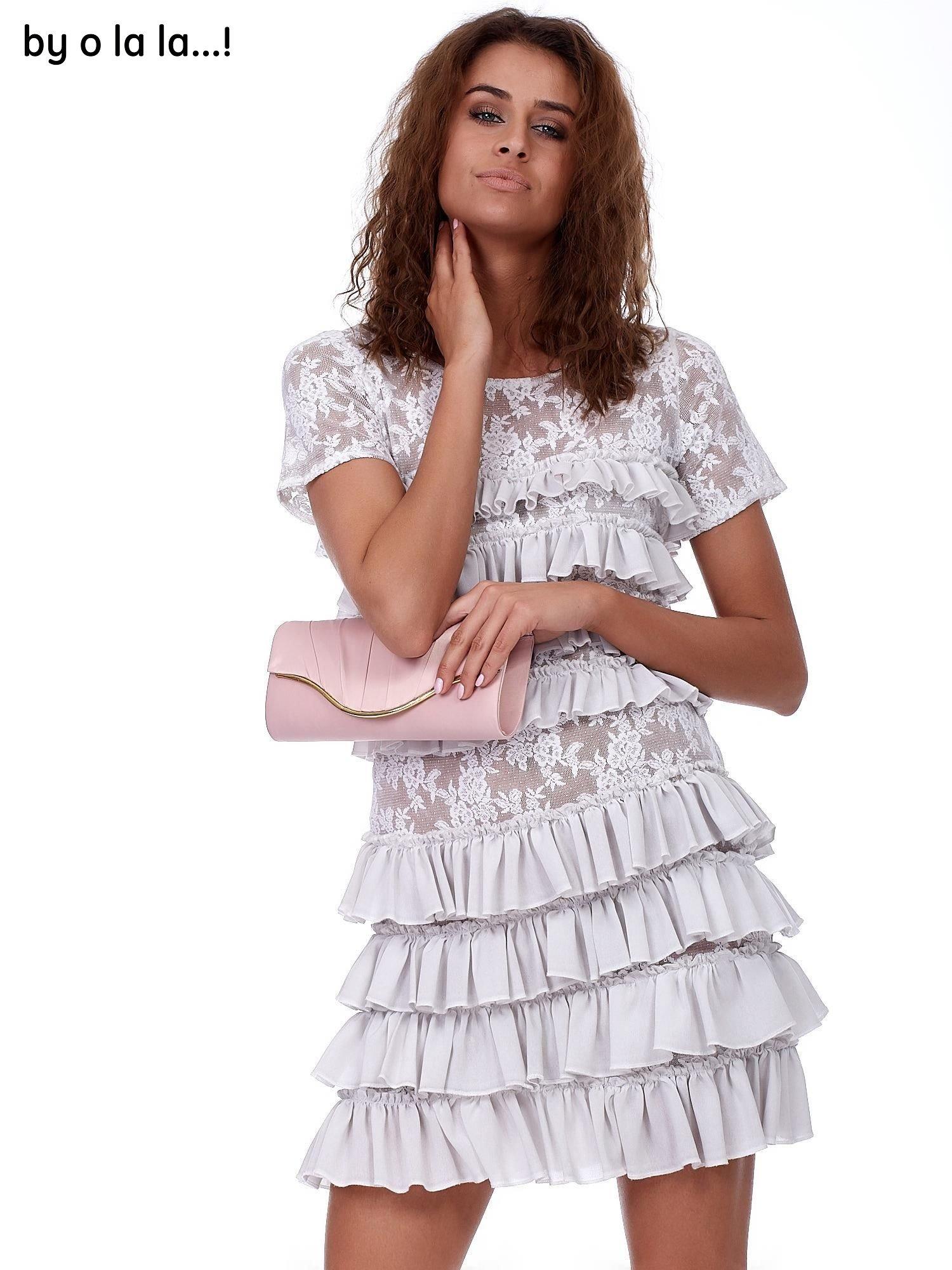 afc12a10d5 Sukienka szara koronkowa z falbanami BY O LA LA - Sukienka ...