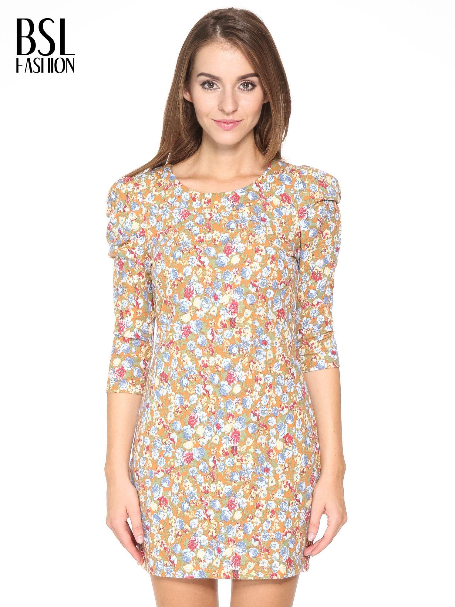 Sukienka w łączkę z marszczonymi rękawkami                                  zdj.                                  1