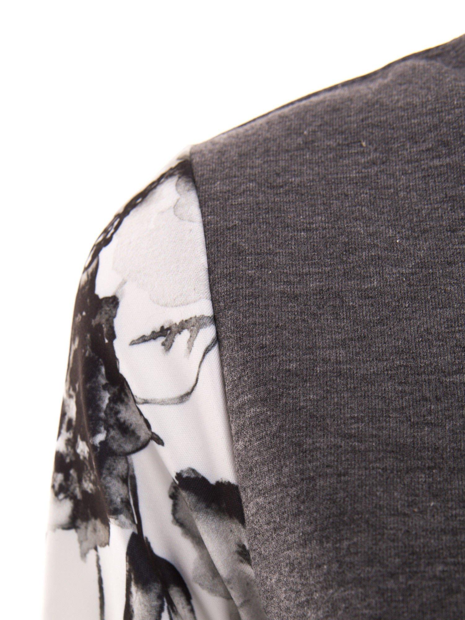 Szara bluza dresowa z rękawami w motyw kwiatowy                                  zdj.                                  5