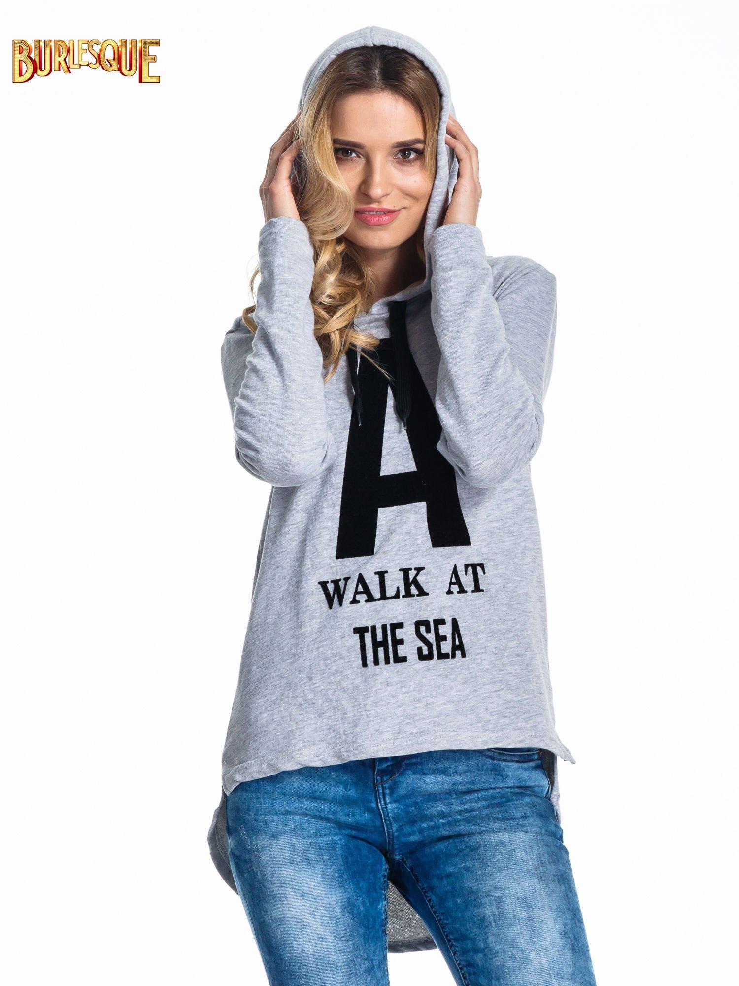 Szara bluza z kapturem i napisem A WALK AT THE SEA                                  zdj.                                  5