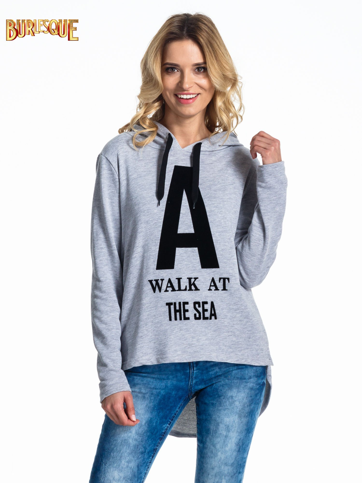 Szara bluza z kapturem i napisem A WALK AT THE SEA                                  zdj.                                  1