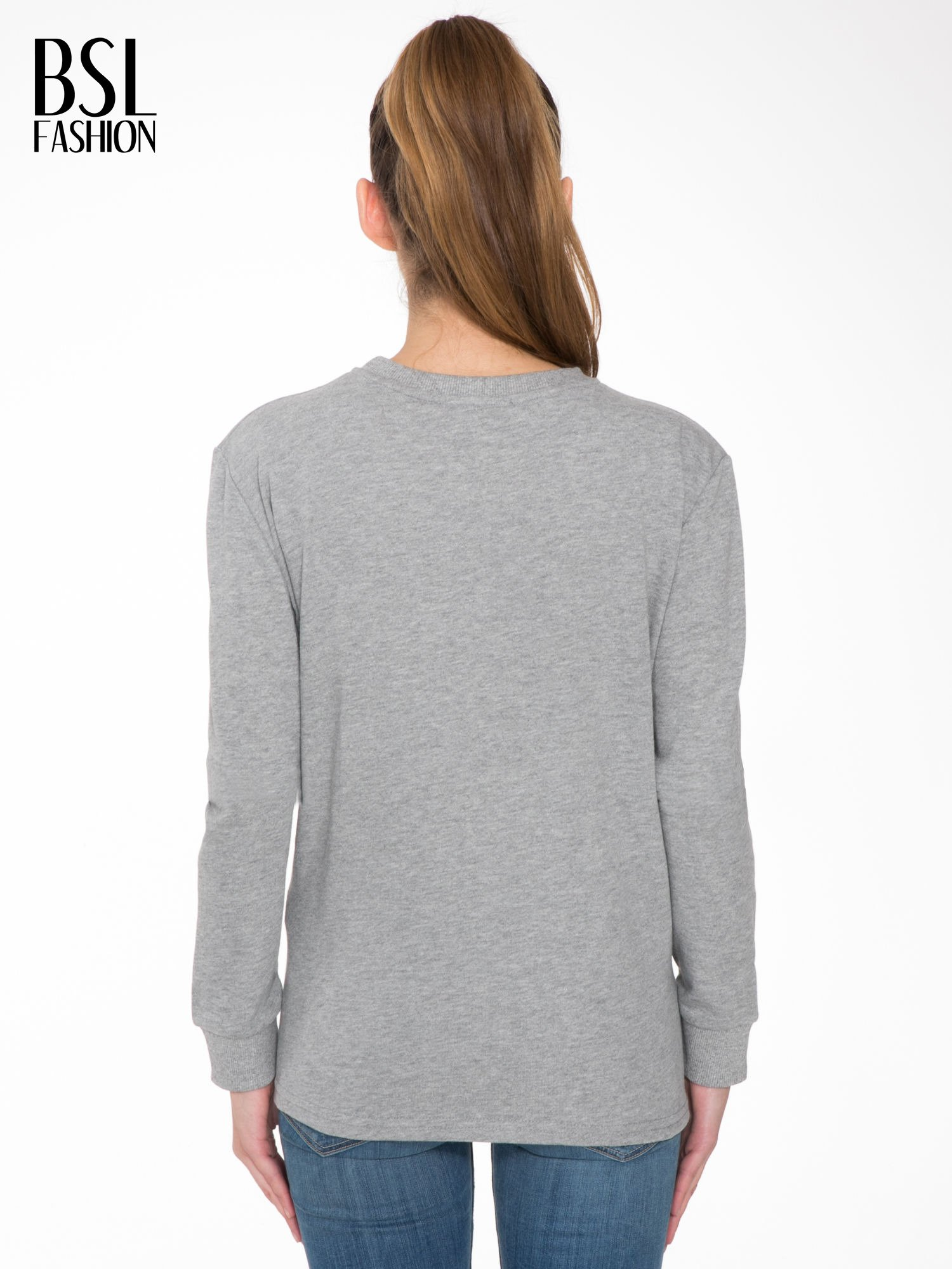 Szara bluza z nadrukiem HOMIÈS                                  zdj.                                  4