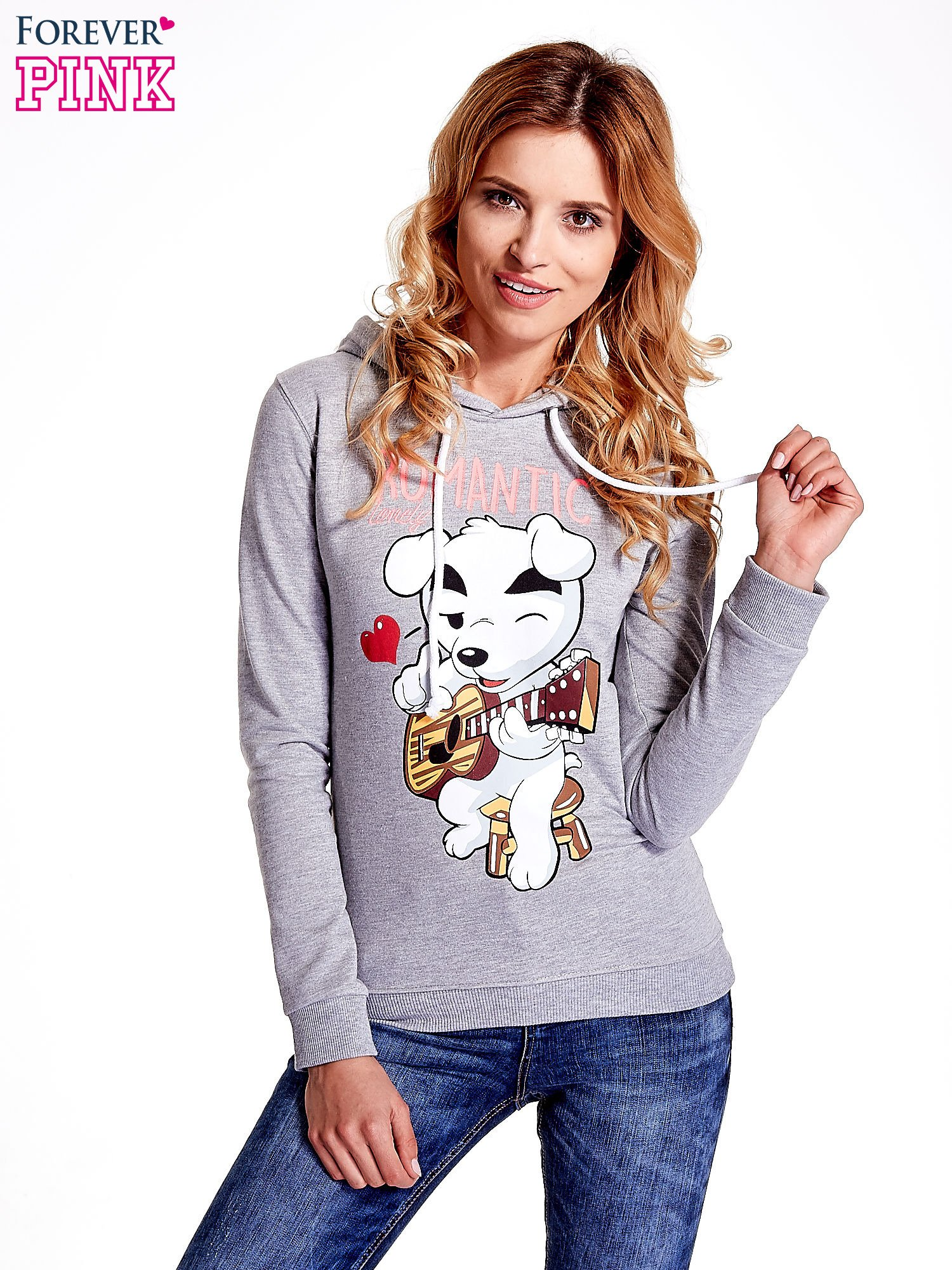 Szara bluza z nadrukiem psa                                  zdj.                                  1