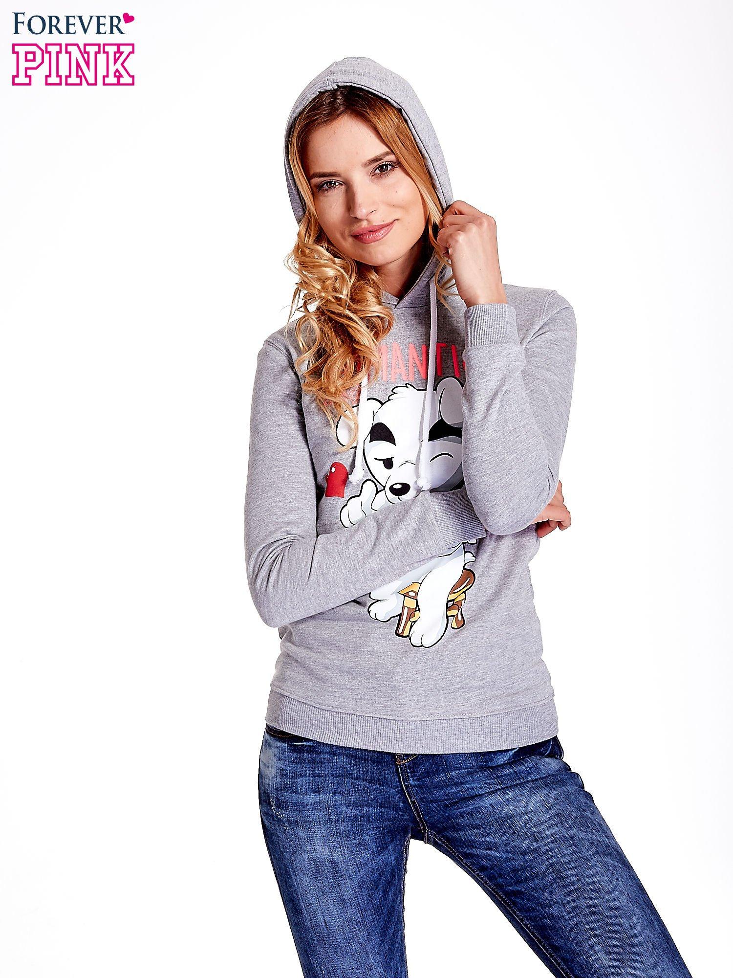 Szara bluza z nadrukiem psa                                  zdj.                                  5