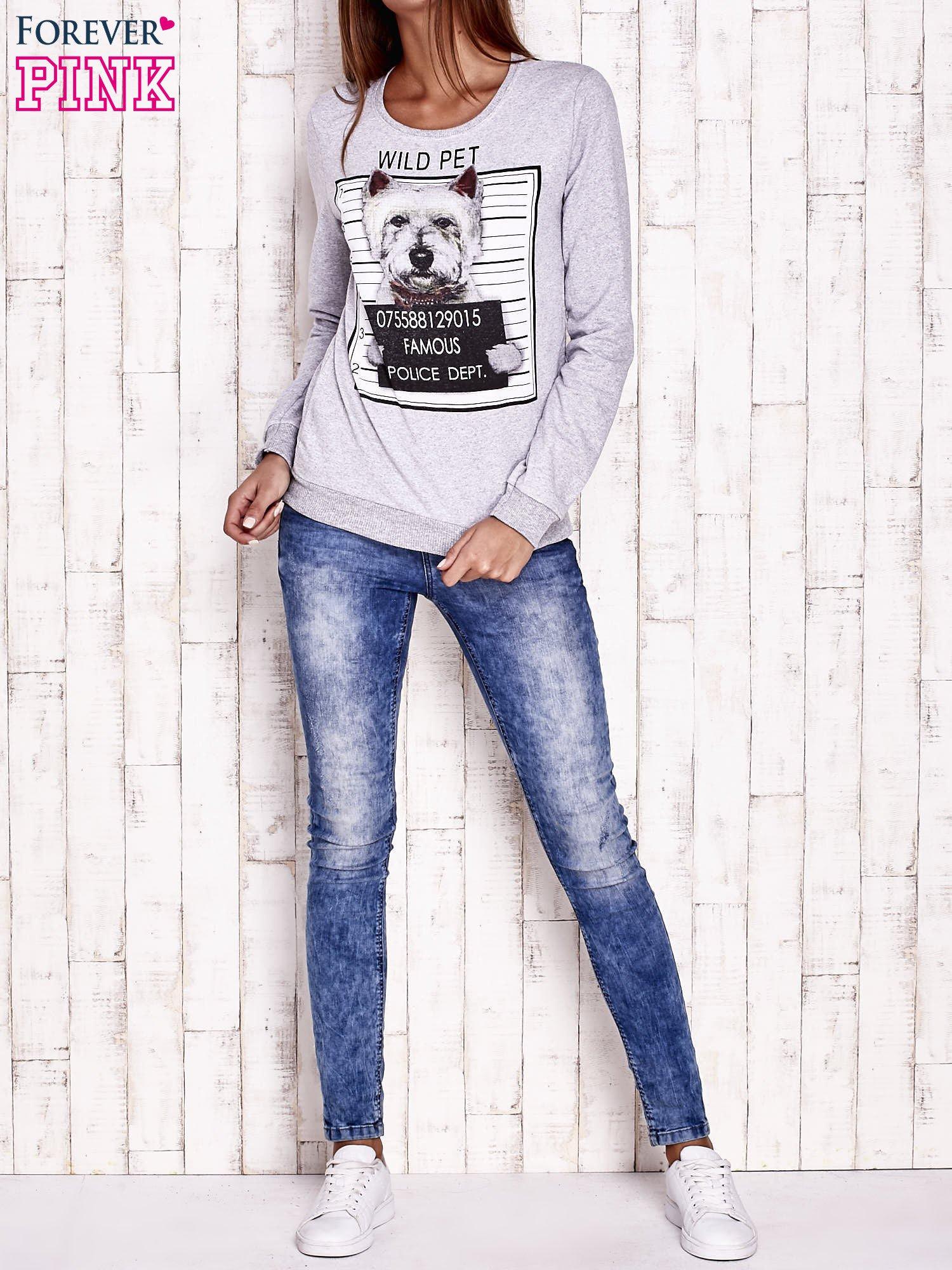 Szara bluza z nadrukiem psa                                  zdj.                                  2