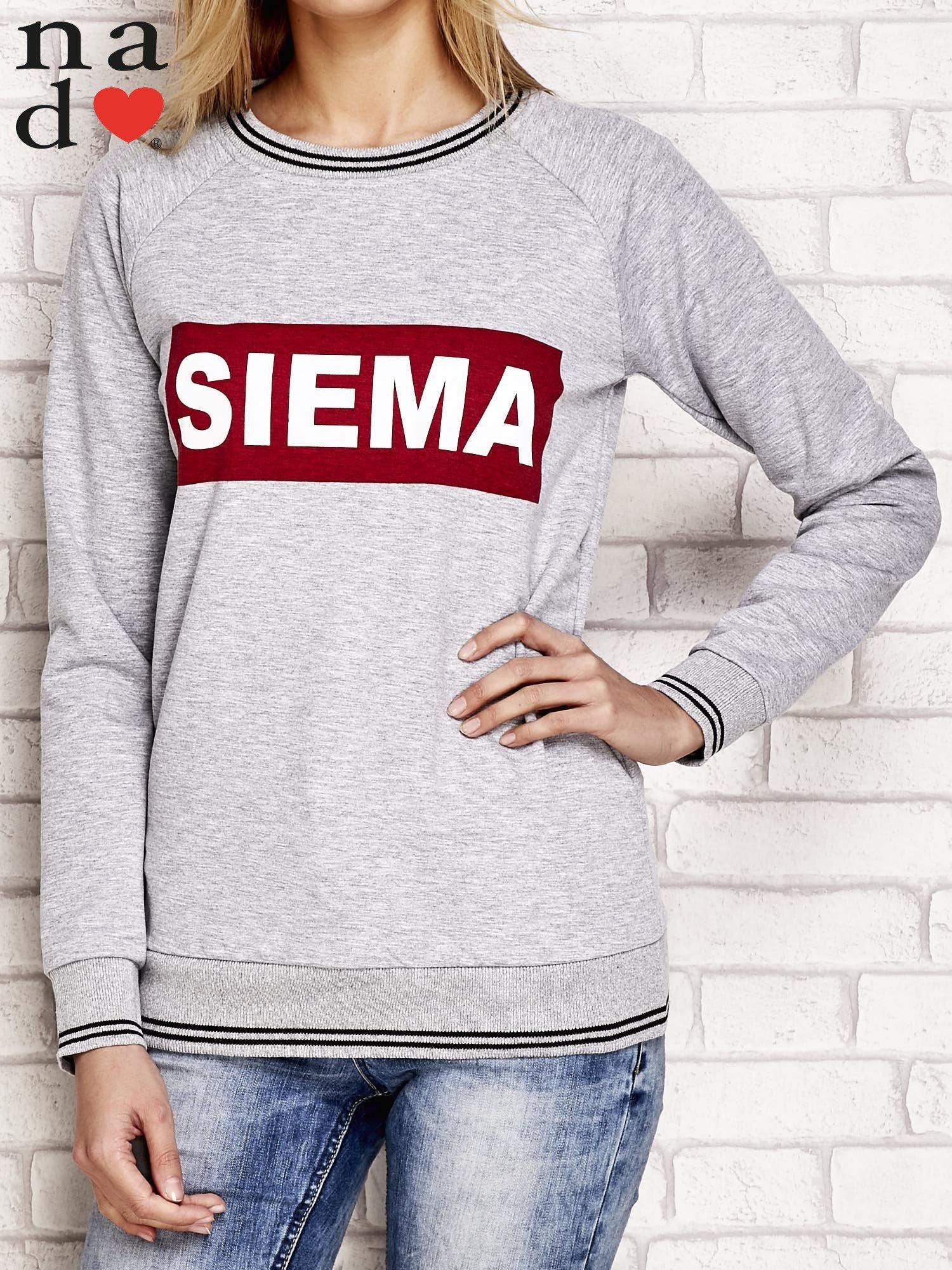 Szara bluza z napisem SIEMA                                  zdj.                                  1