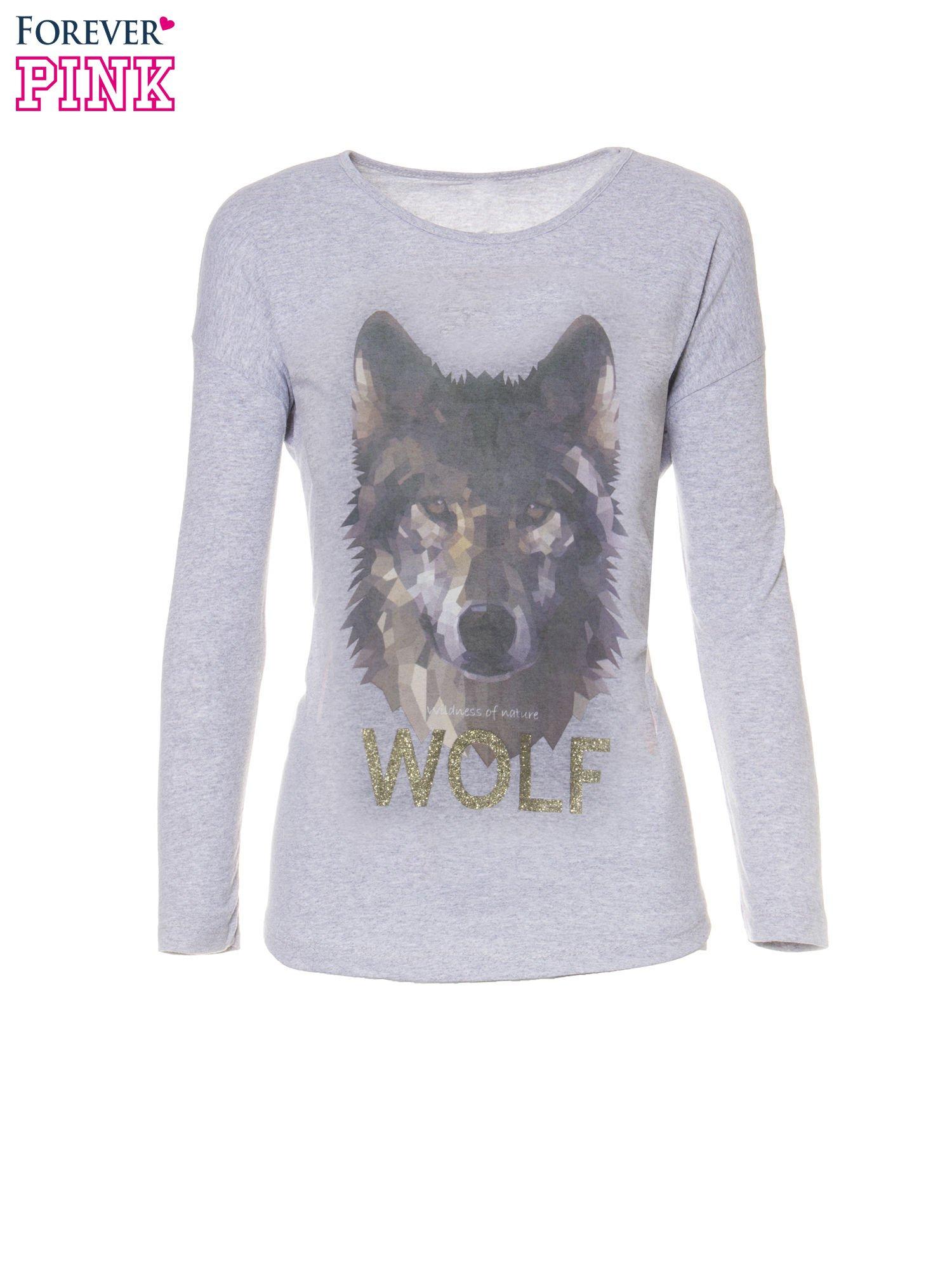 Szara bluzka z nadrukiem wilka i brokatowym napisem WOLF                                  zdj.                                  5
