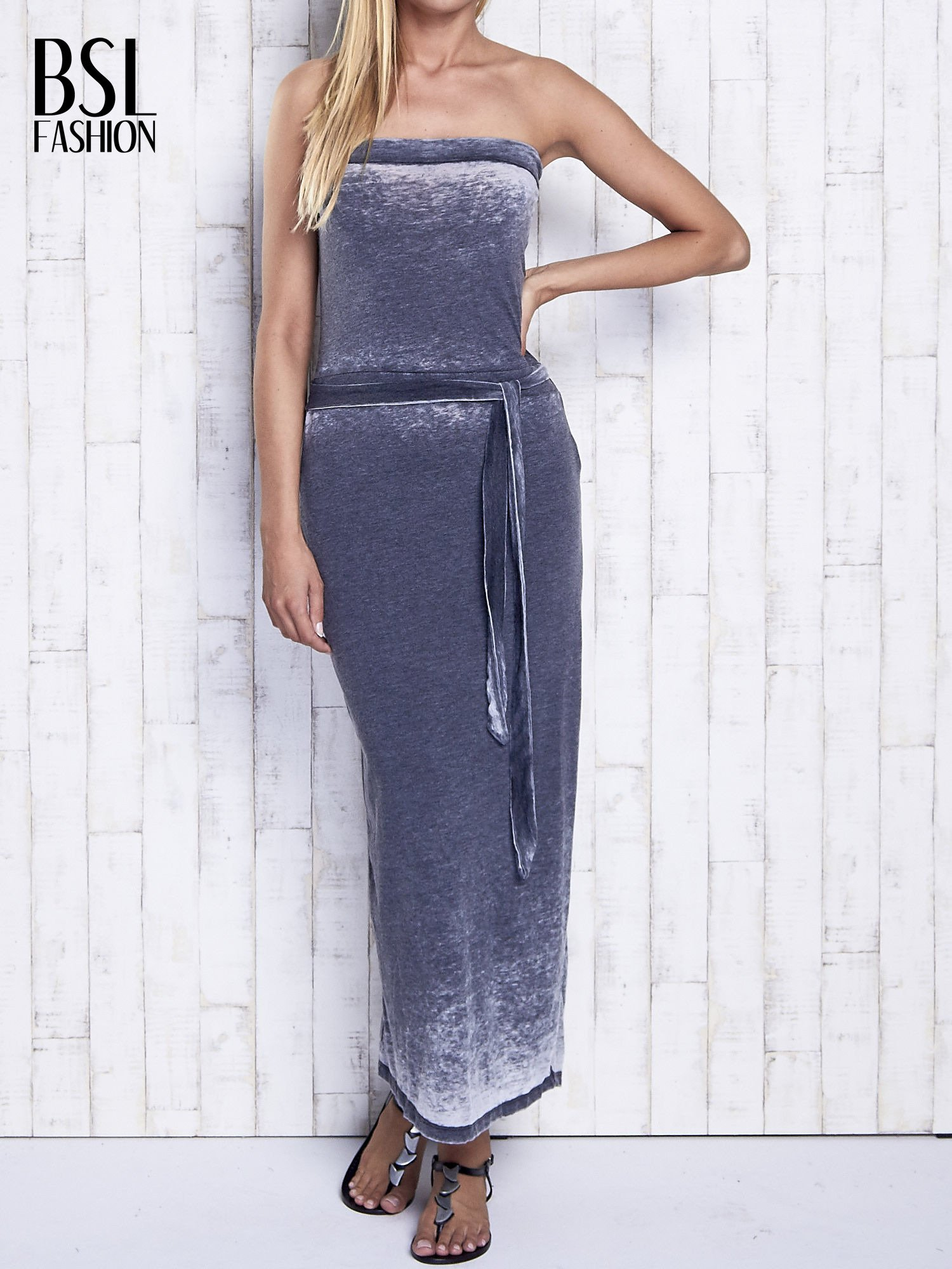 Szara dekatyzowana sukienka maxi na gumkę                                  zdj.                                  1