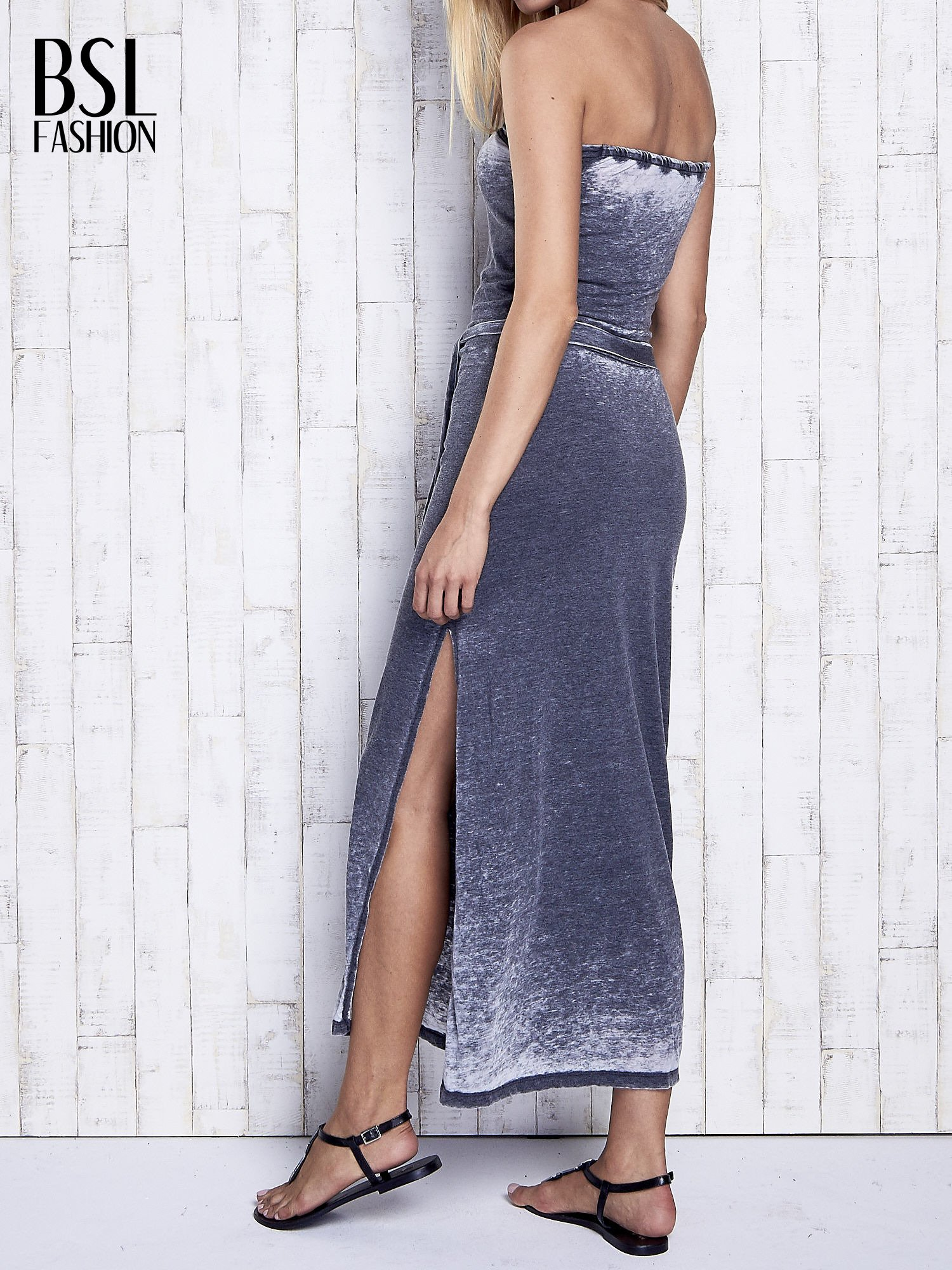 Szara dekatyzowana sukienka maxi na gumkę                                  zdj.                                  2