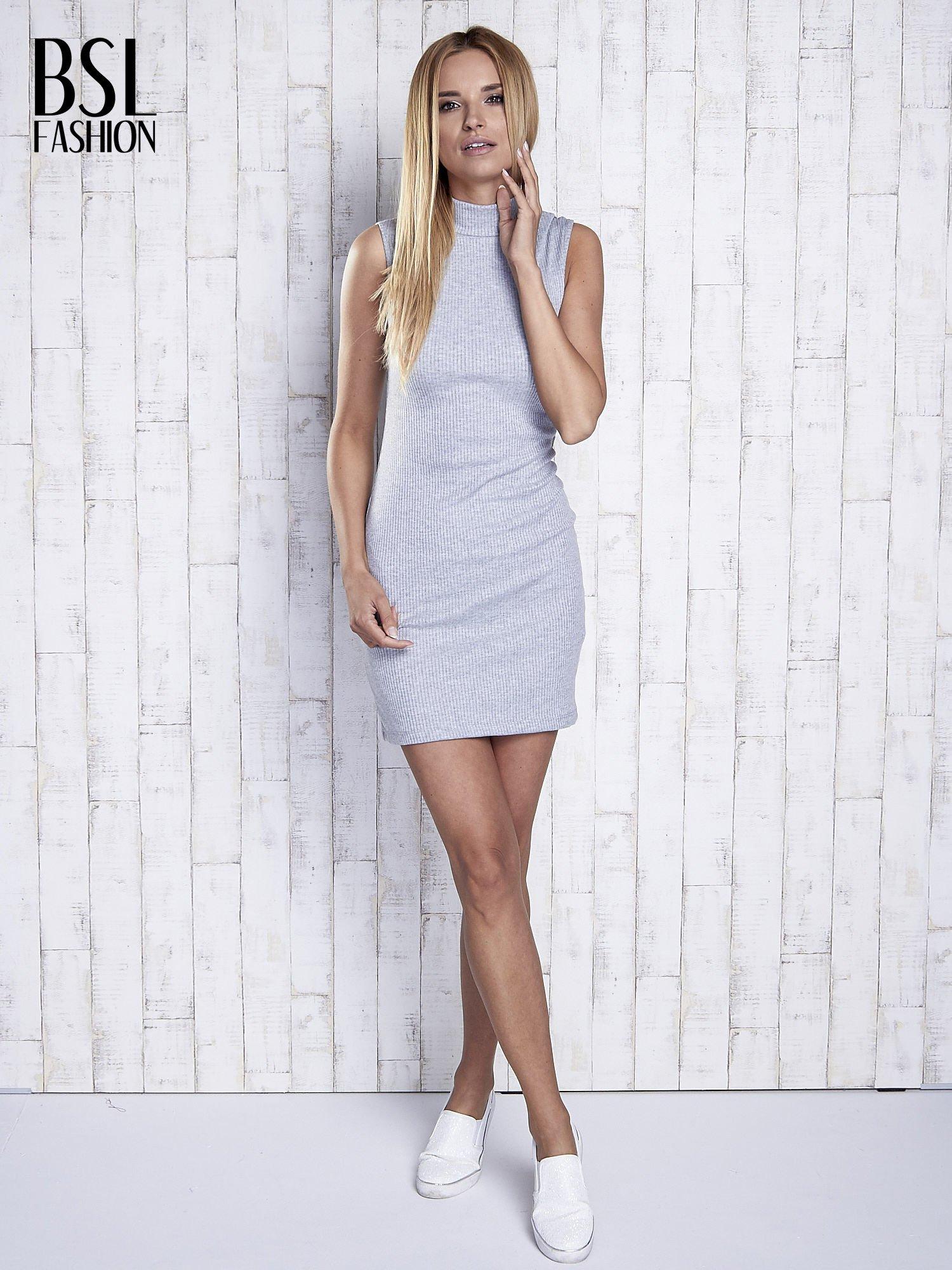 Szara dopasowana sukienka z golfem                                  zdj.                                  10