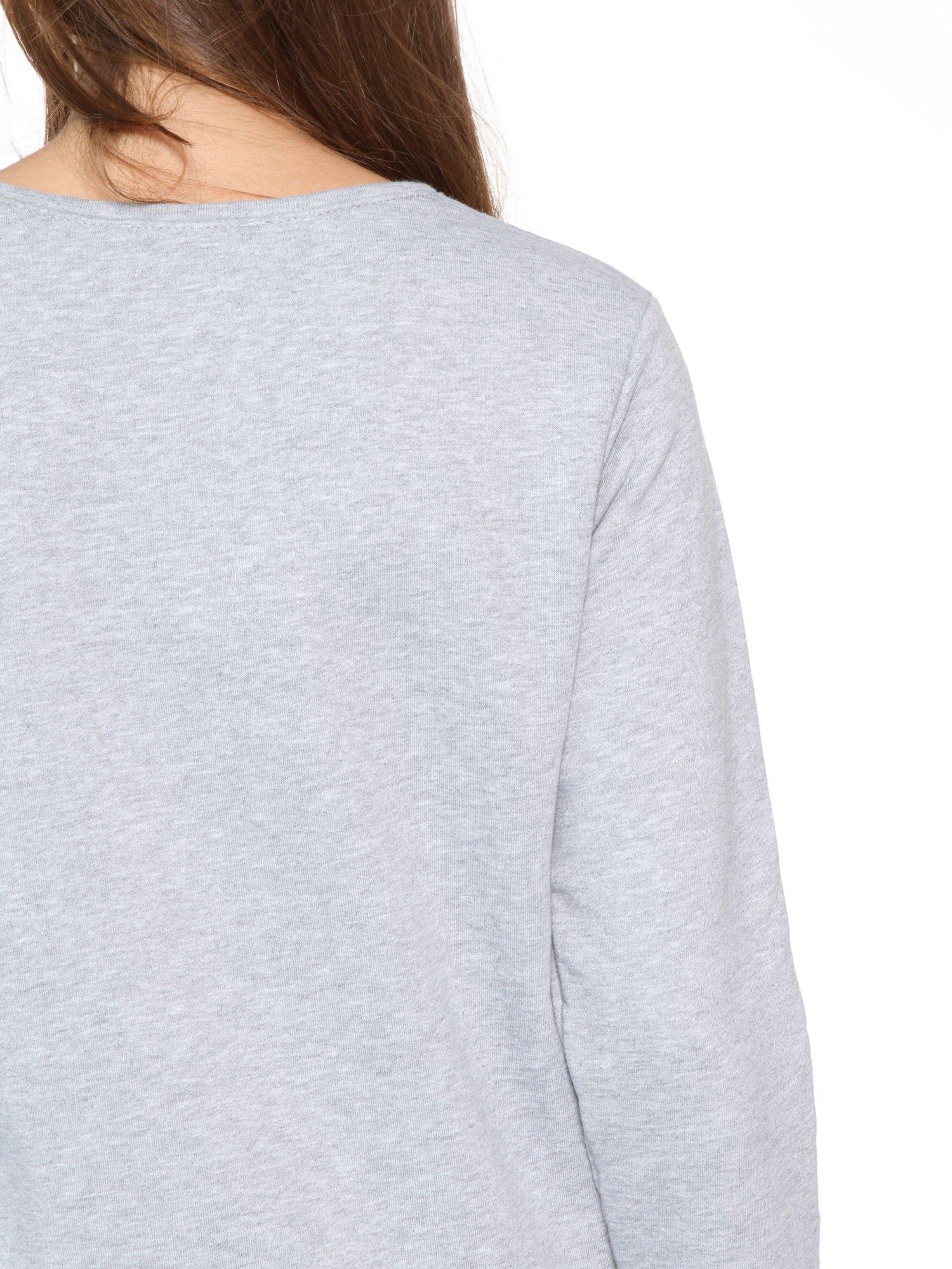 Szara dresowa bluza z kotem z motywem Instagrama                                  zdj.                                  9