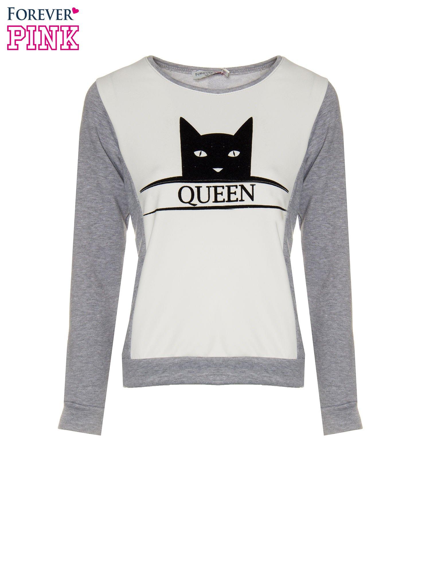 Szara dresowa bluza z nadrukiem kota i napisem QUEEN                                  zdj.                                  5
