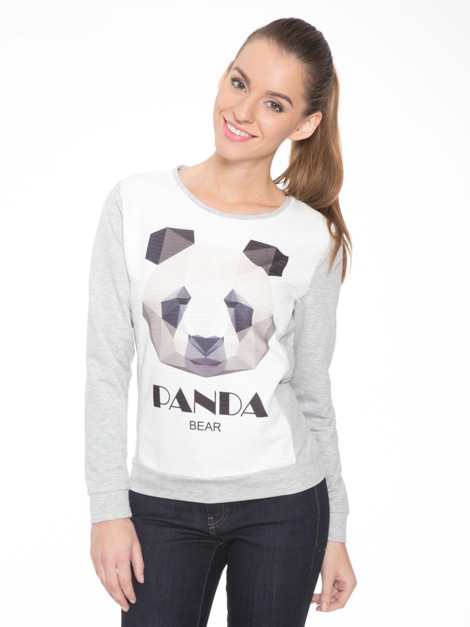 Szara dresowa bluza z nadrukiem pandy                                  zdj.                                  1