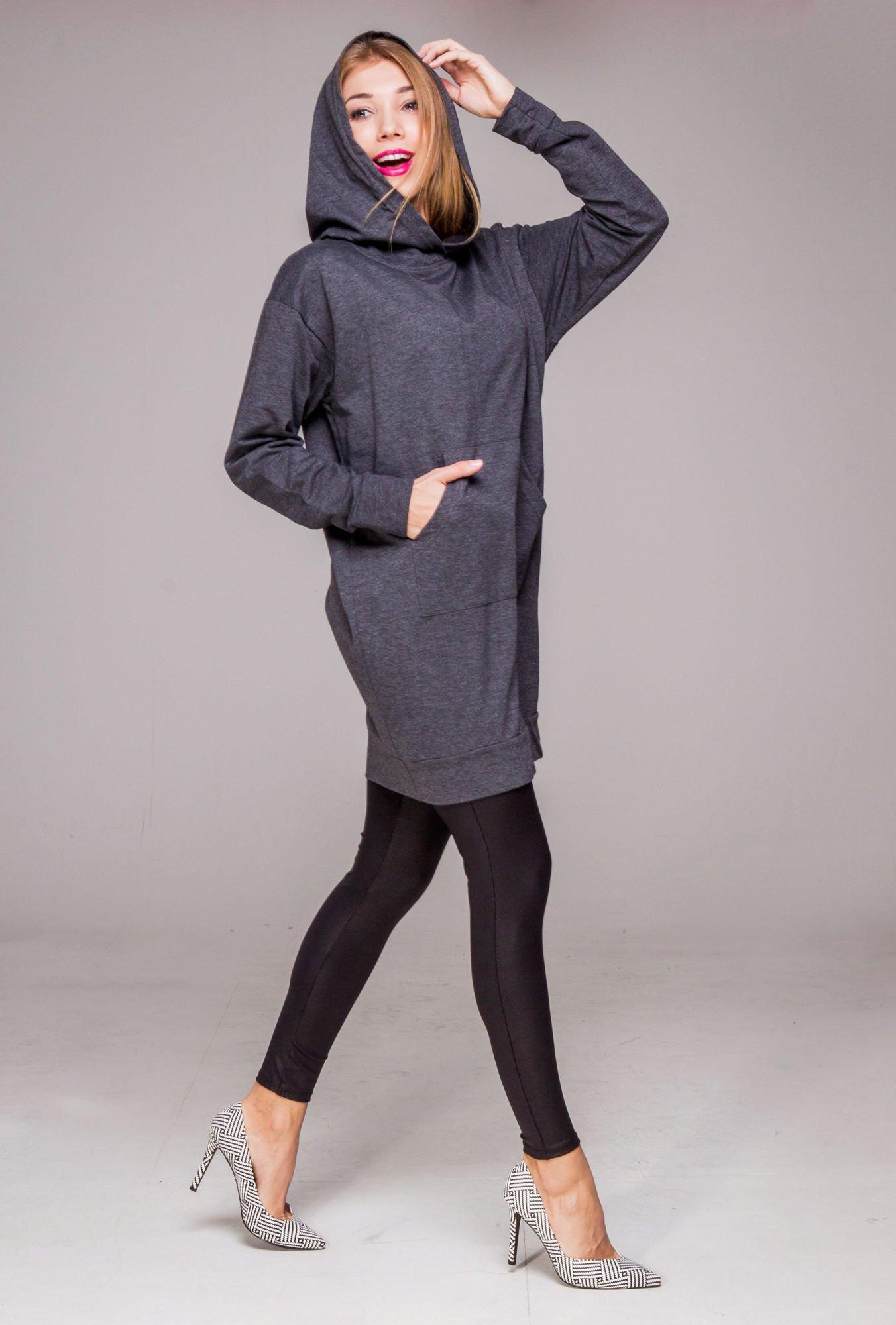 Szara dresowa bluzosukienka z kapturem i kieszenią typu kangur                                  zdj.                                  12